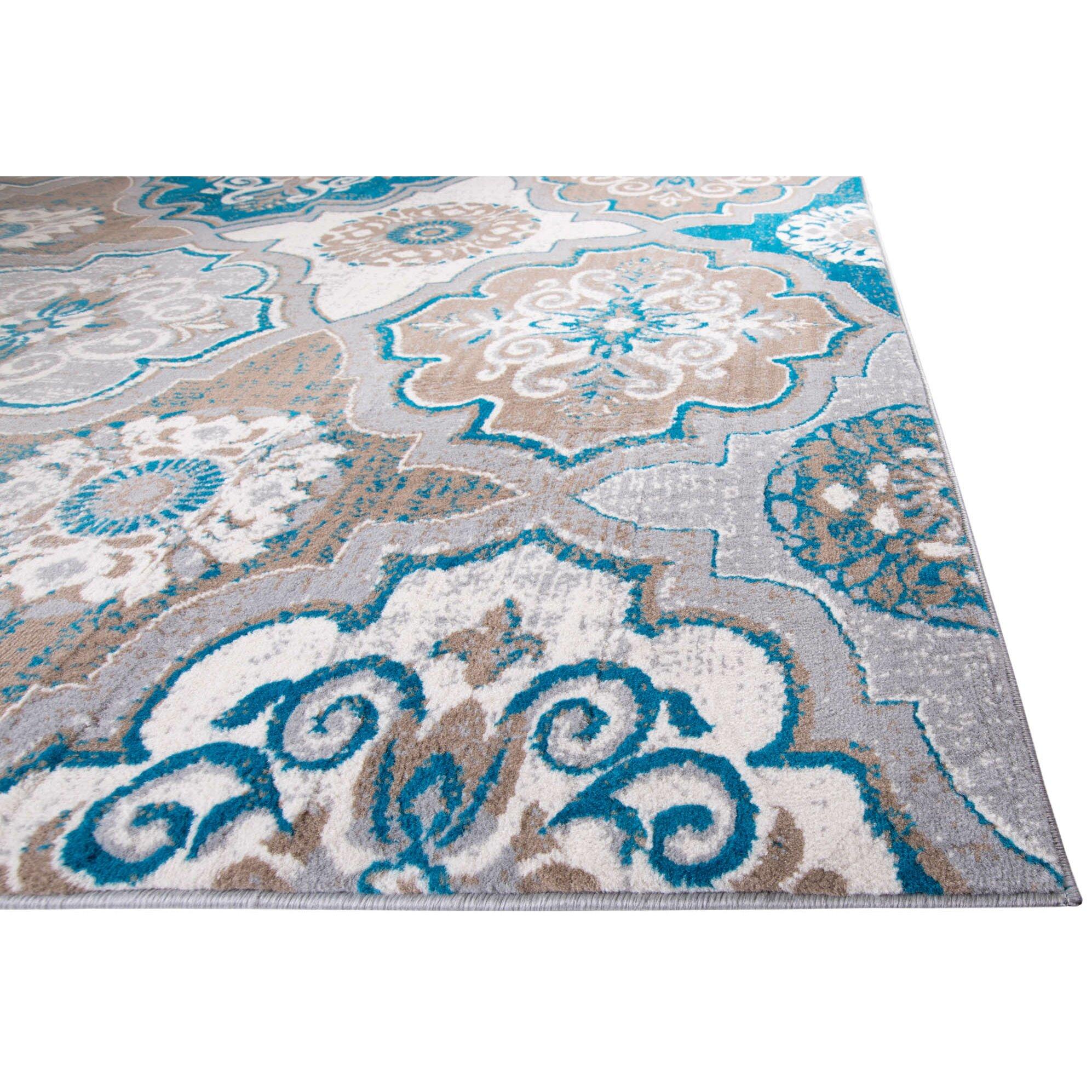 Saleya Turquoise Area Rug: Andover Mills Zella Blue/Brown Area Rug & Reviews