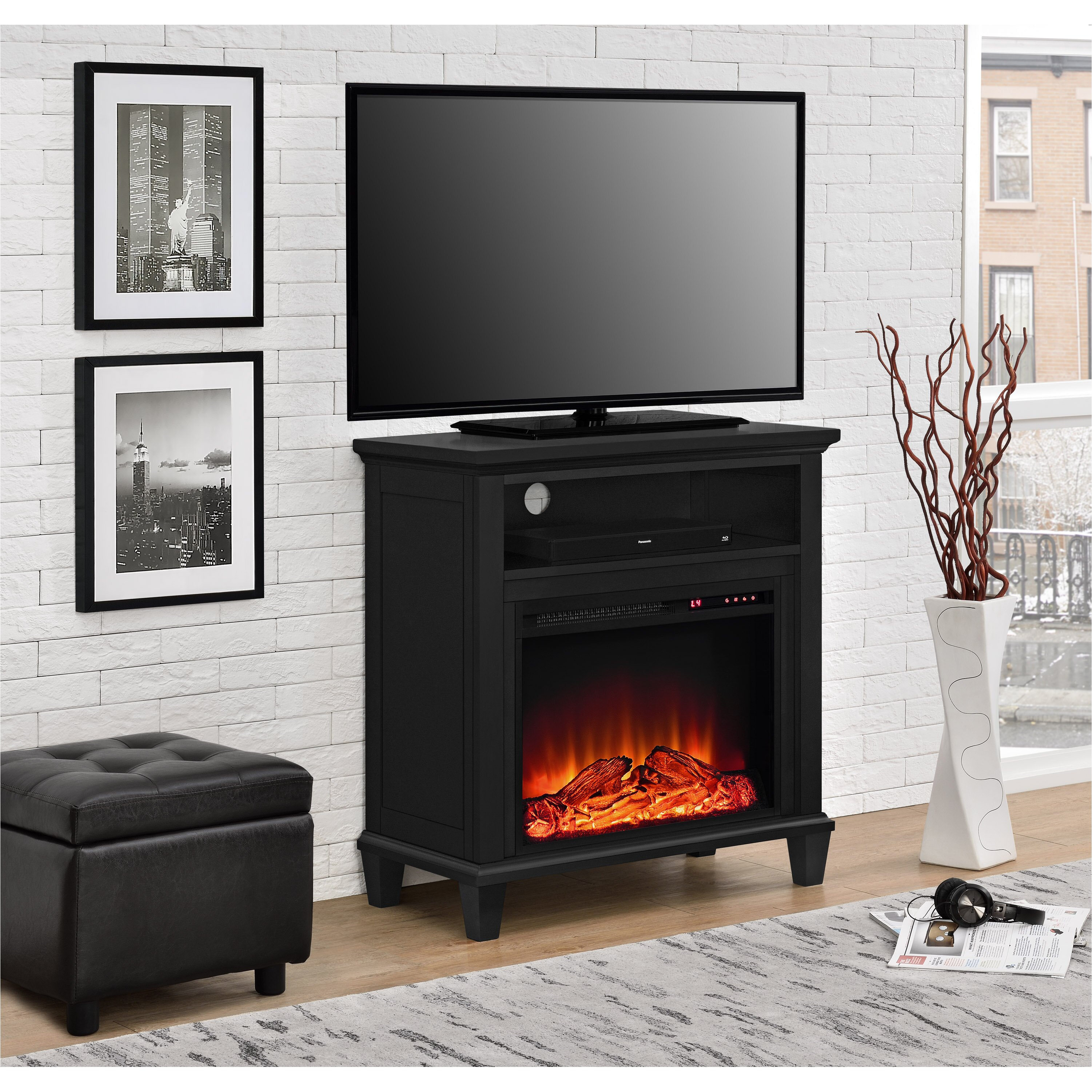 real flame fresno electric fireplace tv stand in white. real flame ...