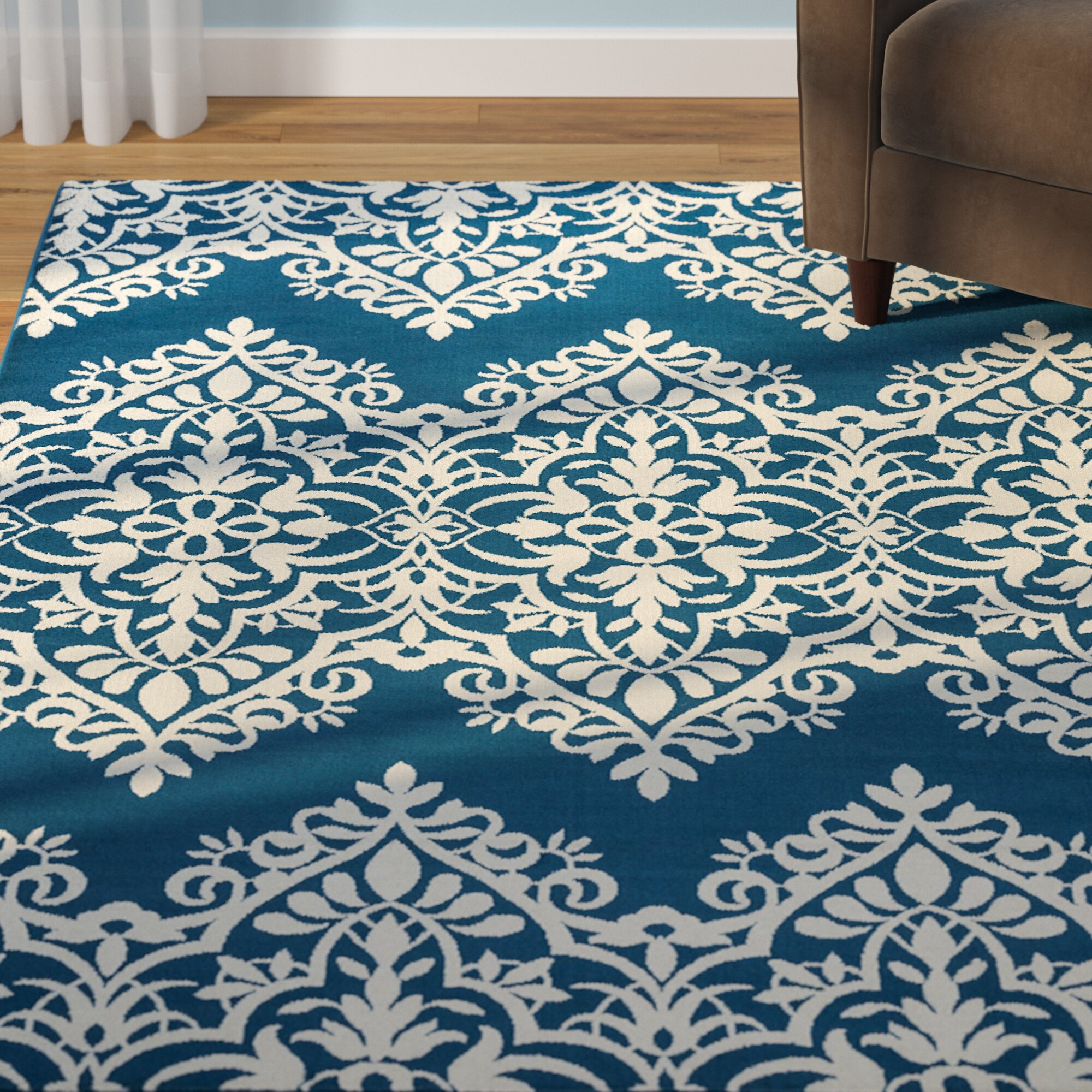 andover mills pearl blue ivory indoor outdoor area rug. Black Bedroom Furniture Sets. Home Design Ideas