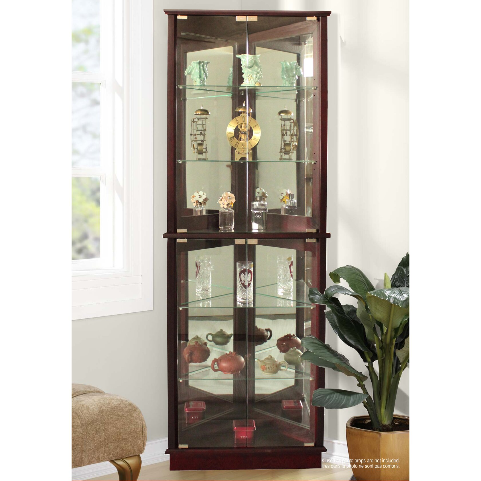 Glass Curio Cabinets With Lights Andover Mills Randalstown Corner Curio Cabinet Reviews Wayfair