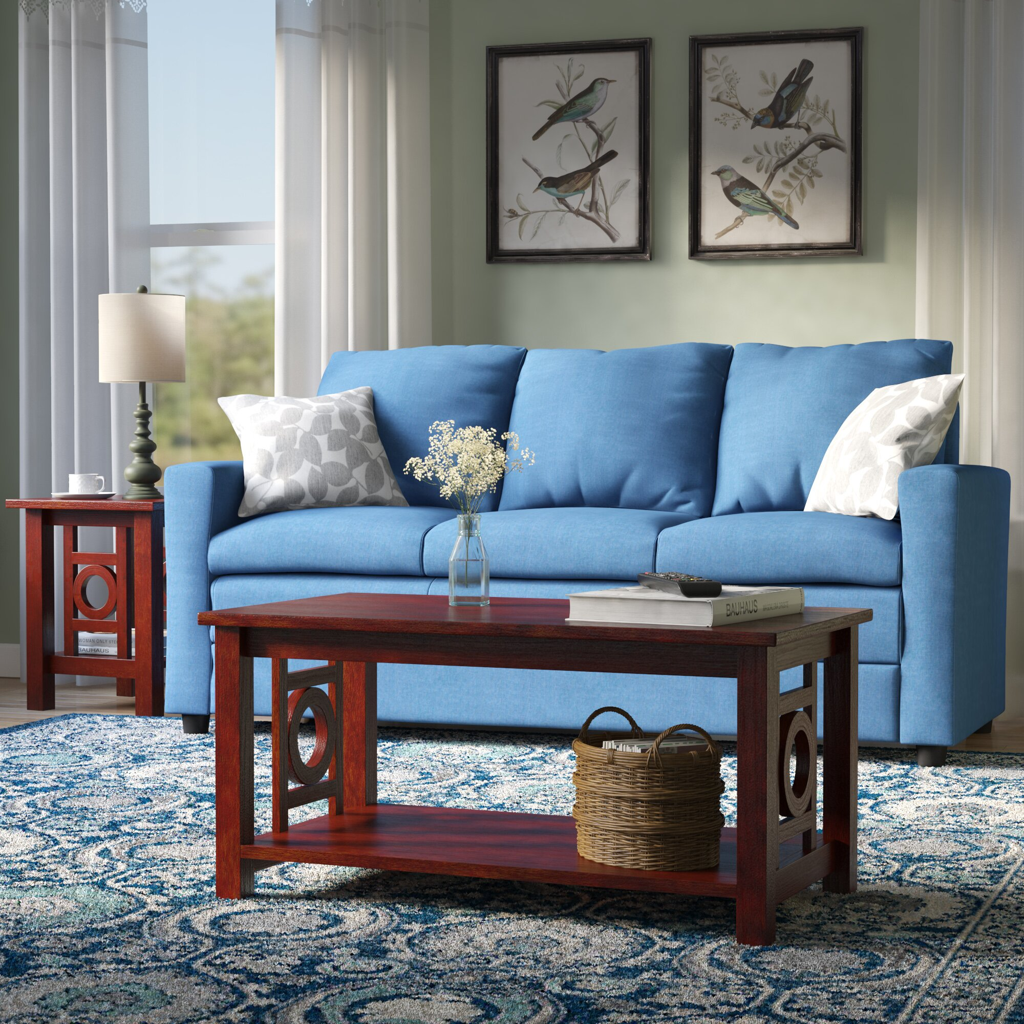 Royal blue living room with rich brown and creamy accents 17 best
