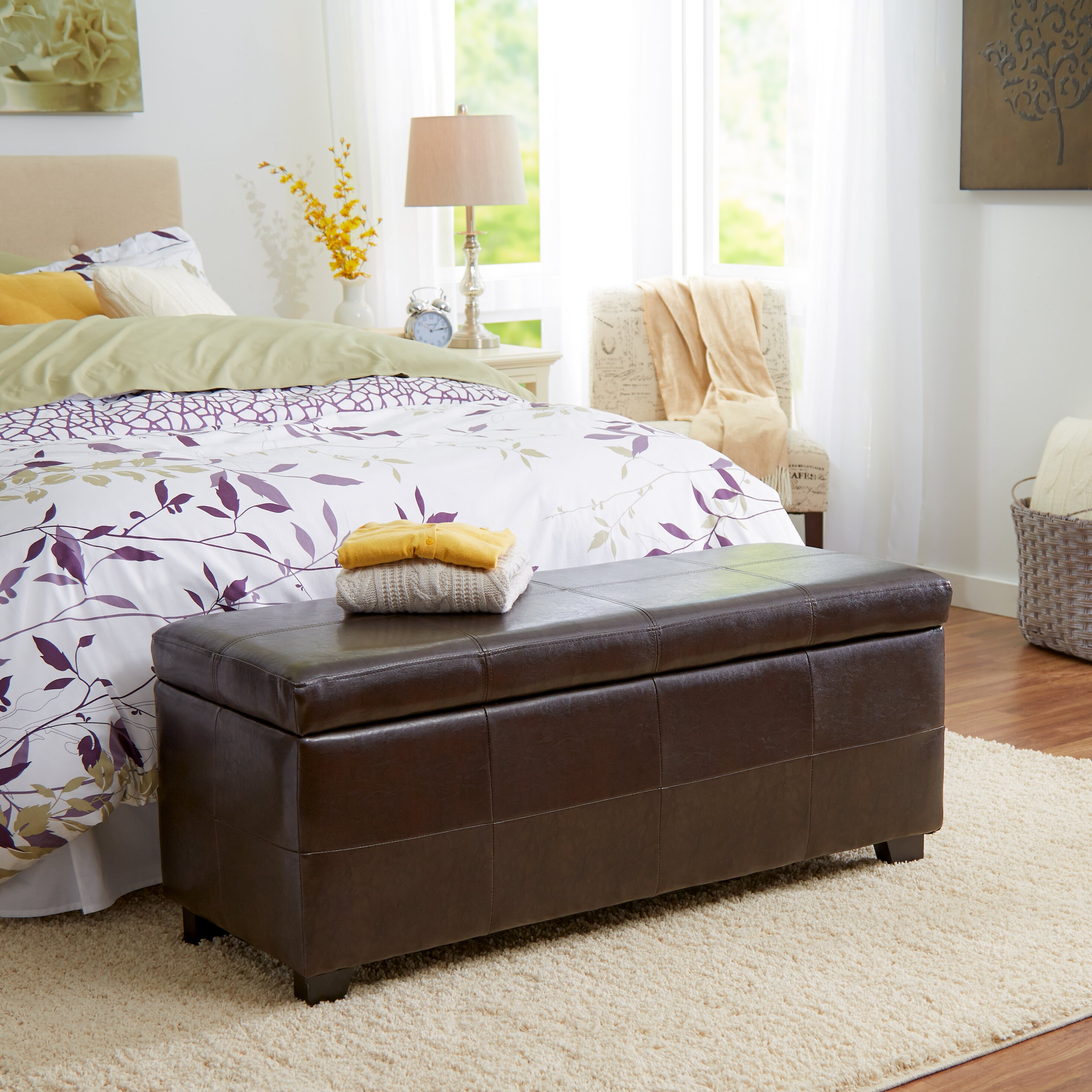 Ottoman Bedroom Storage Andover Mills Lorraine Leather Storage Ottoman Reviews Wayfair