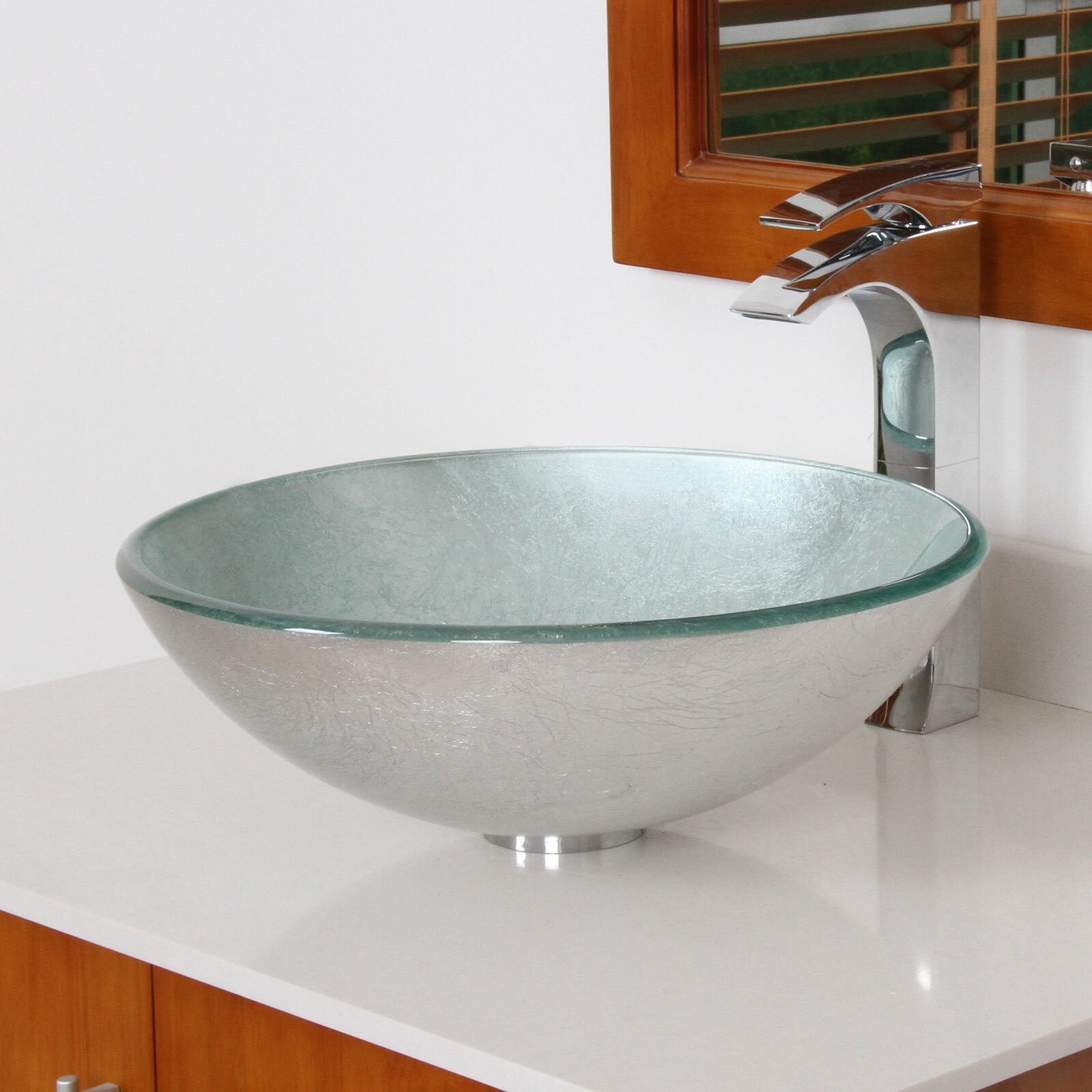elite hand painted foil round bowl vessel bathroom sink & reviews