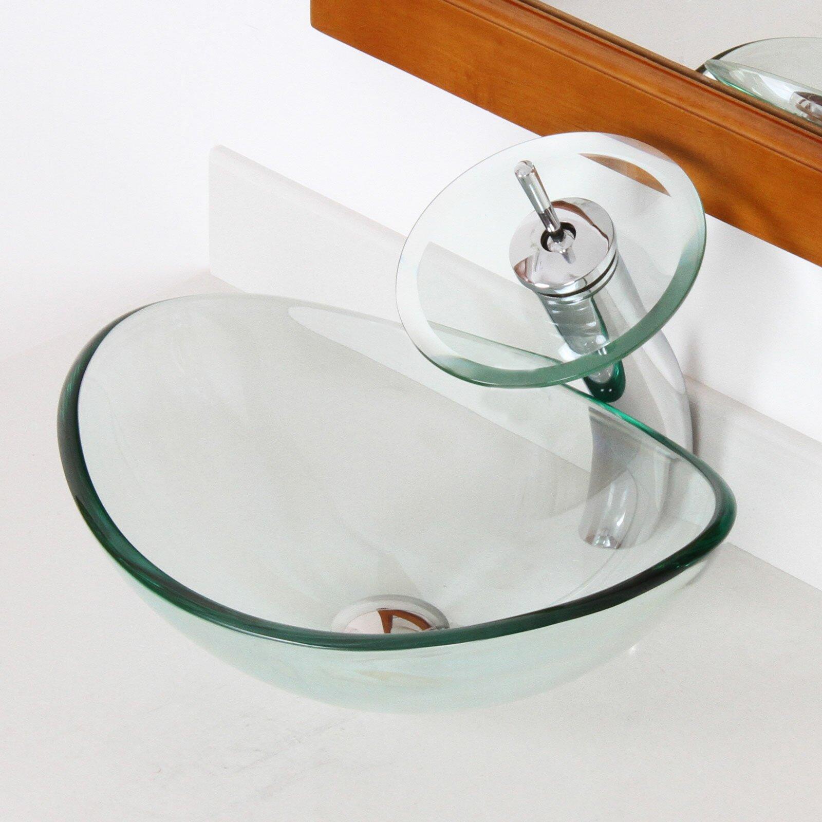 Elite mini tempered glass boat shaped oval bowl bottom - Bathroom tempered glass vessel sink ...