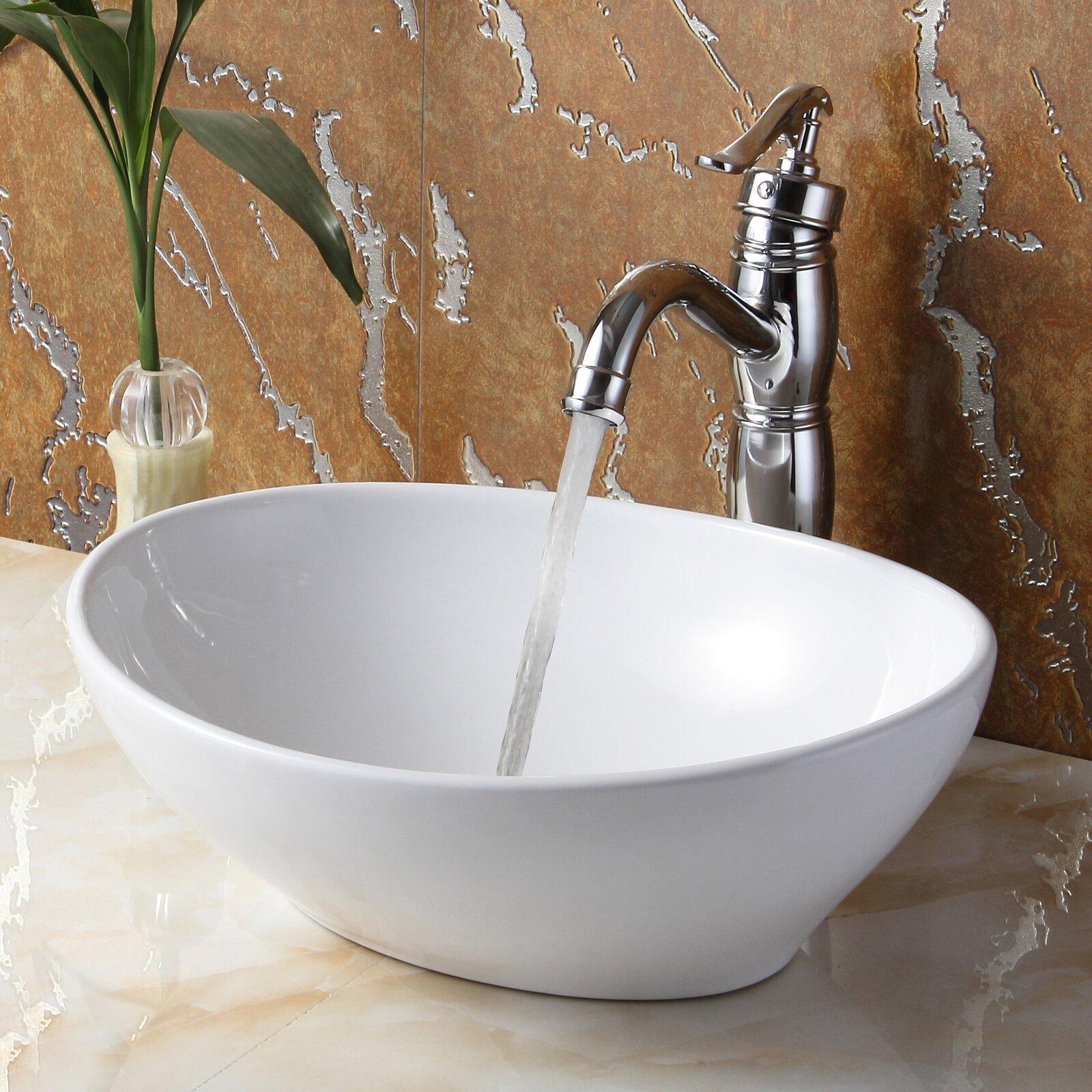 Elite Ceramic Boat-Shaped Bathroom Sink & Reviews