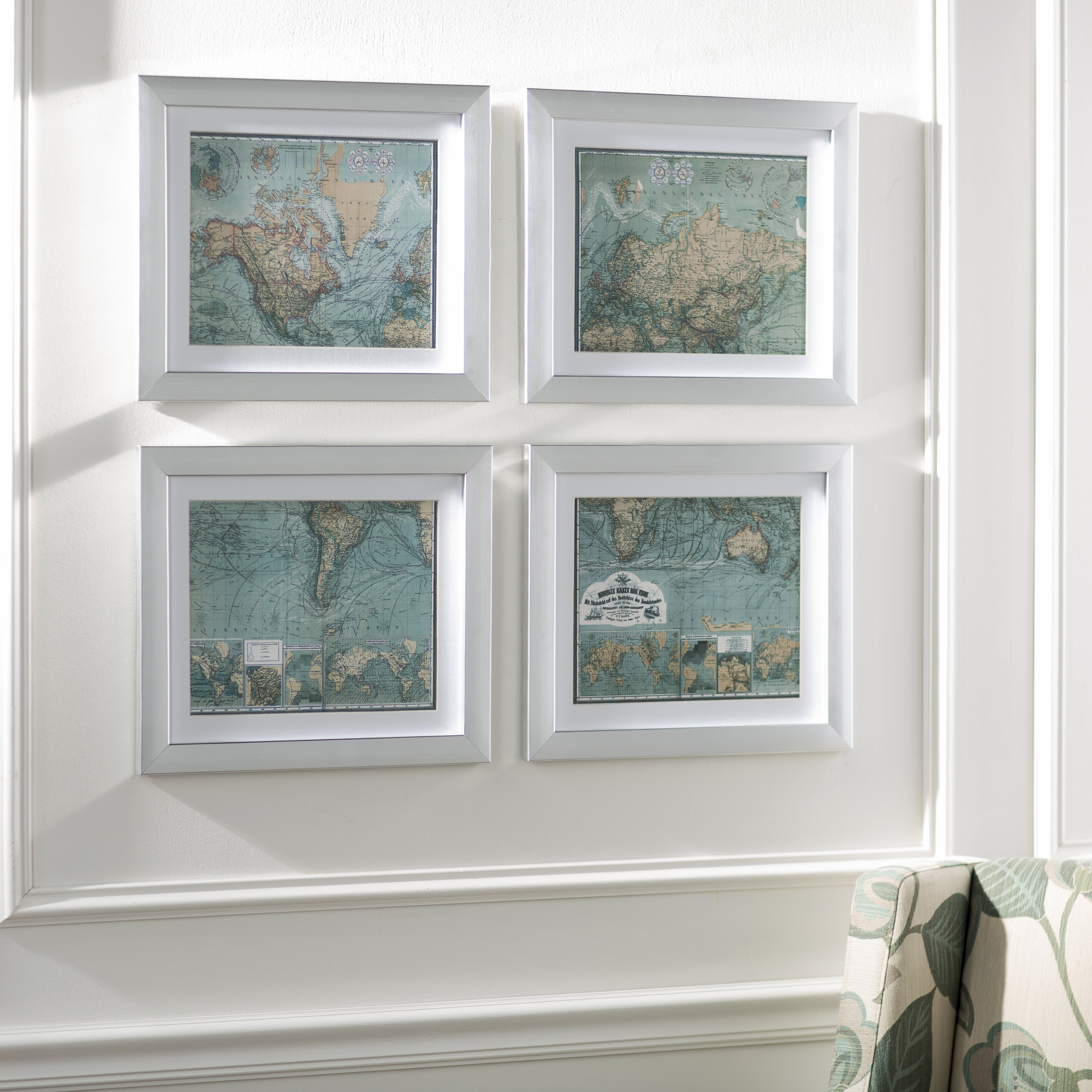 three posts map 4 piece framed graphic art set