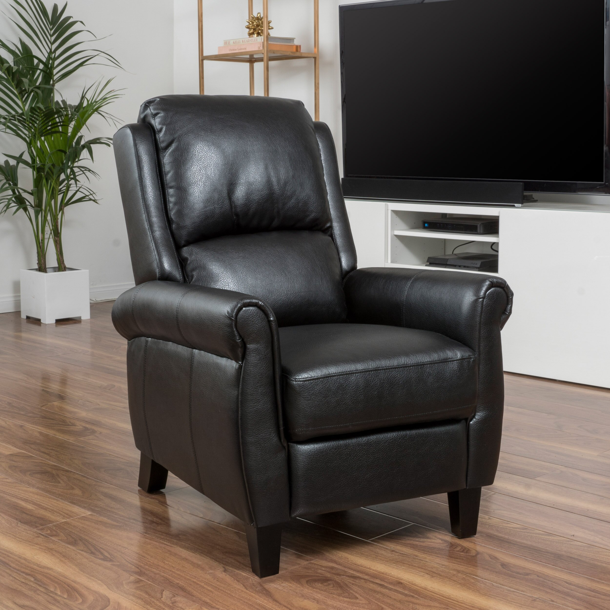 Recliners that look like chairs - Three Posts Deerfiled Pu Leather Recliner Club Chair