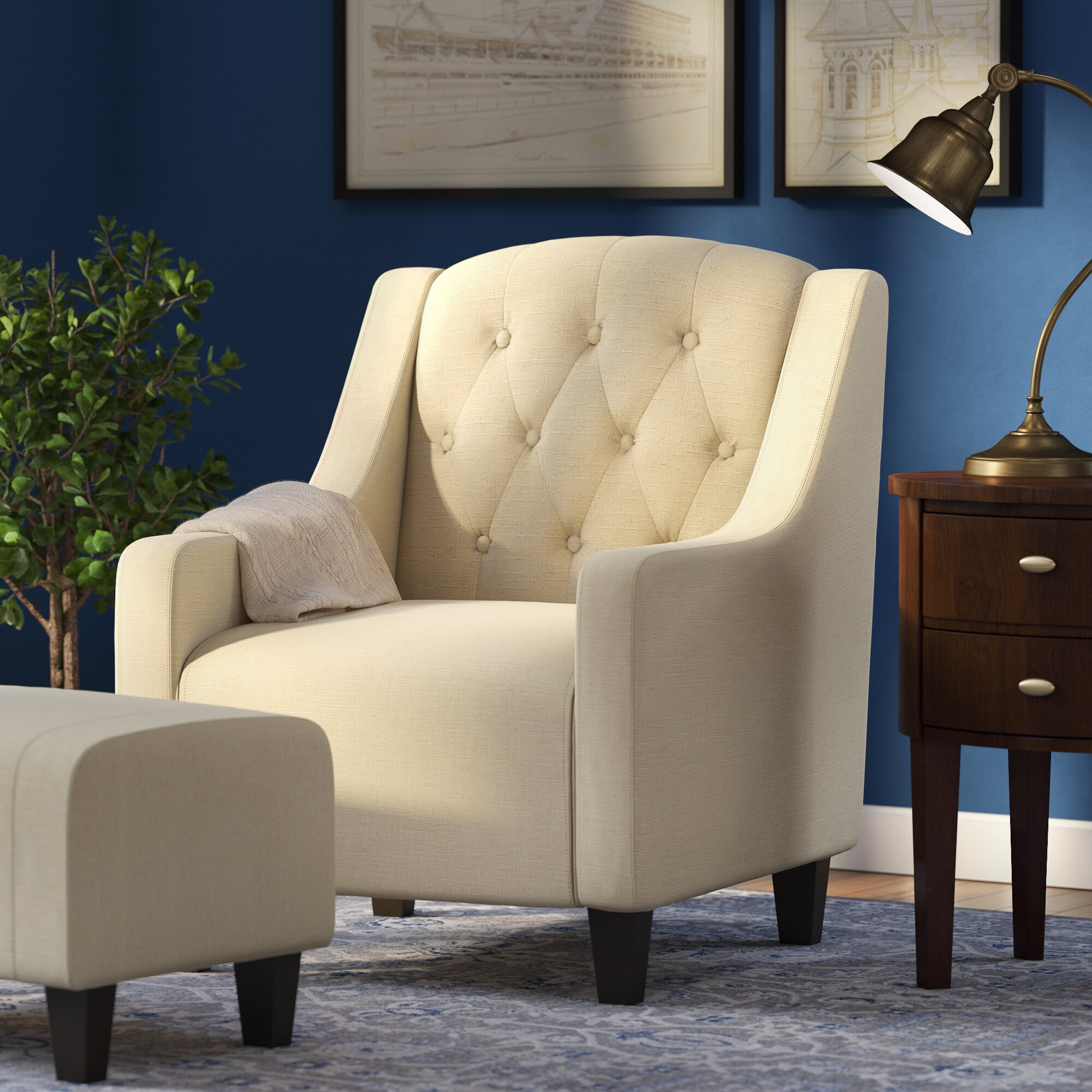 Three Posts Simpson Upholstered Arm Chair With Ottoman
