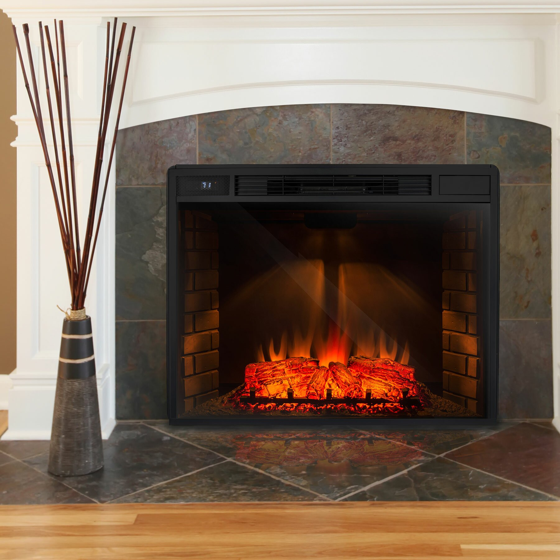 akdy freestanding 3d logs flame electric fireplace insert