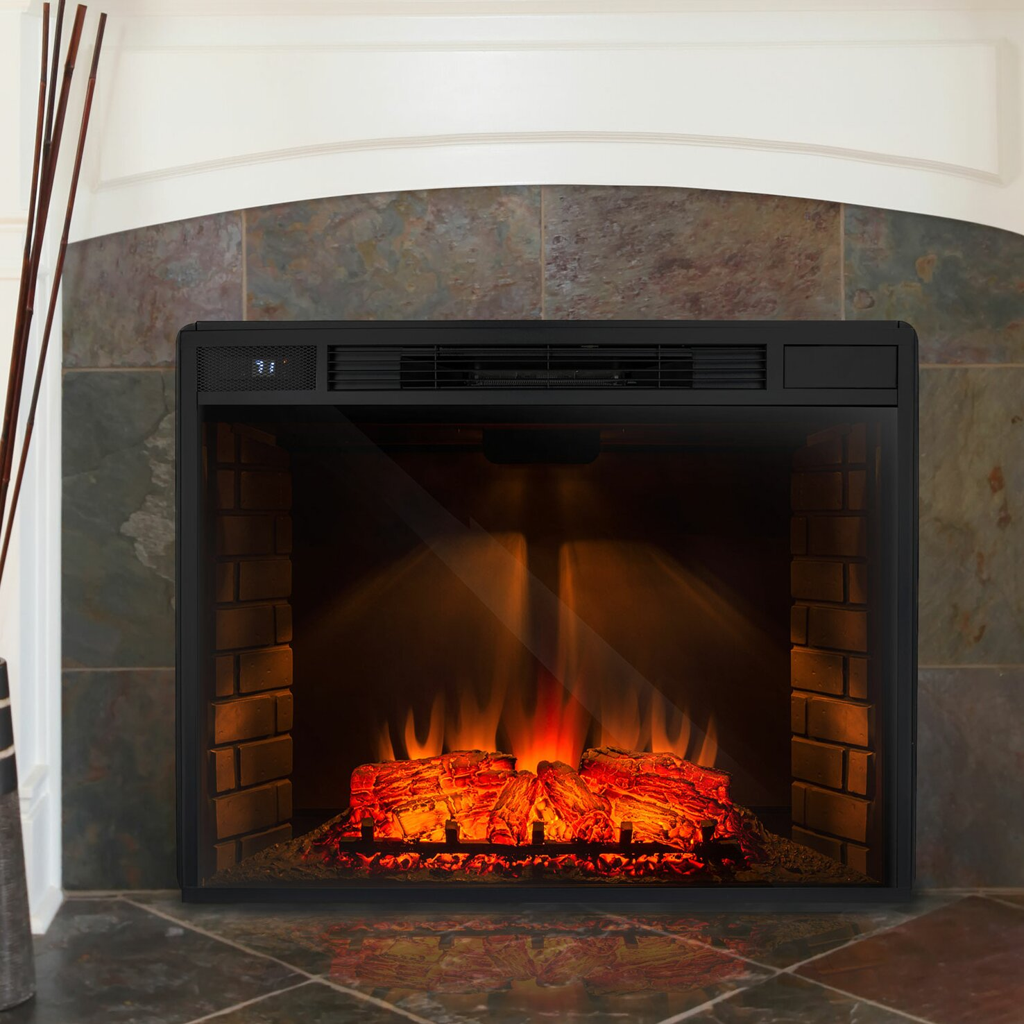 AKDY Freestanding 3D Logs Flame Electric Fireplace Insert - AKDY Freestanding 3D Logs Flame Electric Fireplace Insert