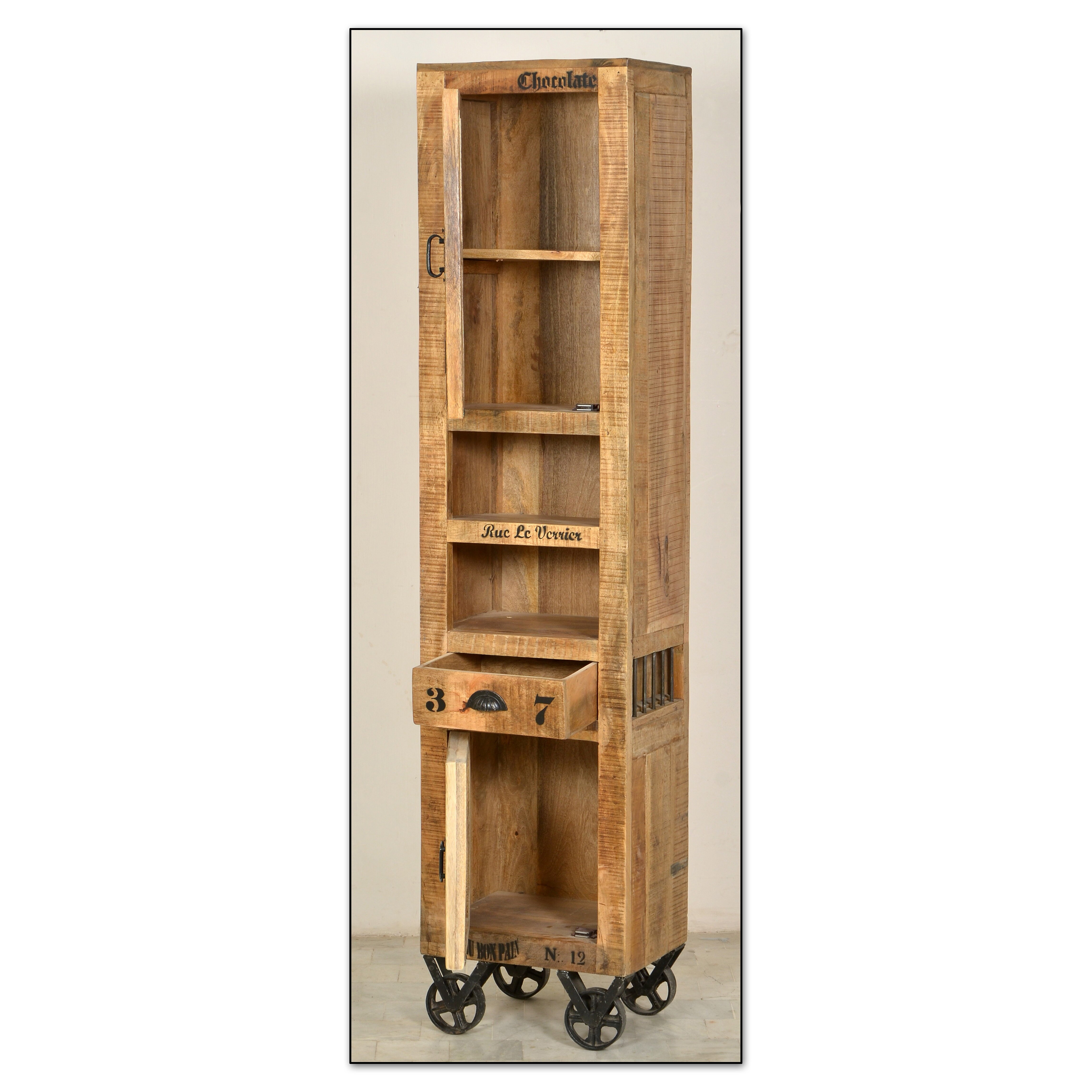 Sit m bel rustic free standing tall bathroom cabinet for Sideboard 3 00 m