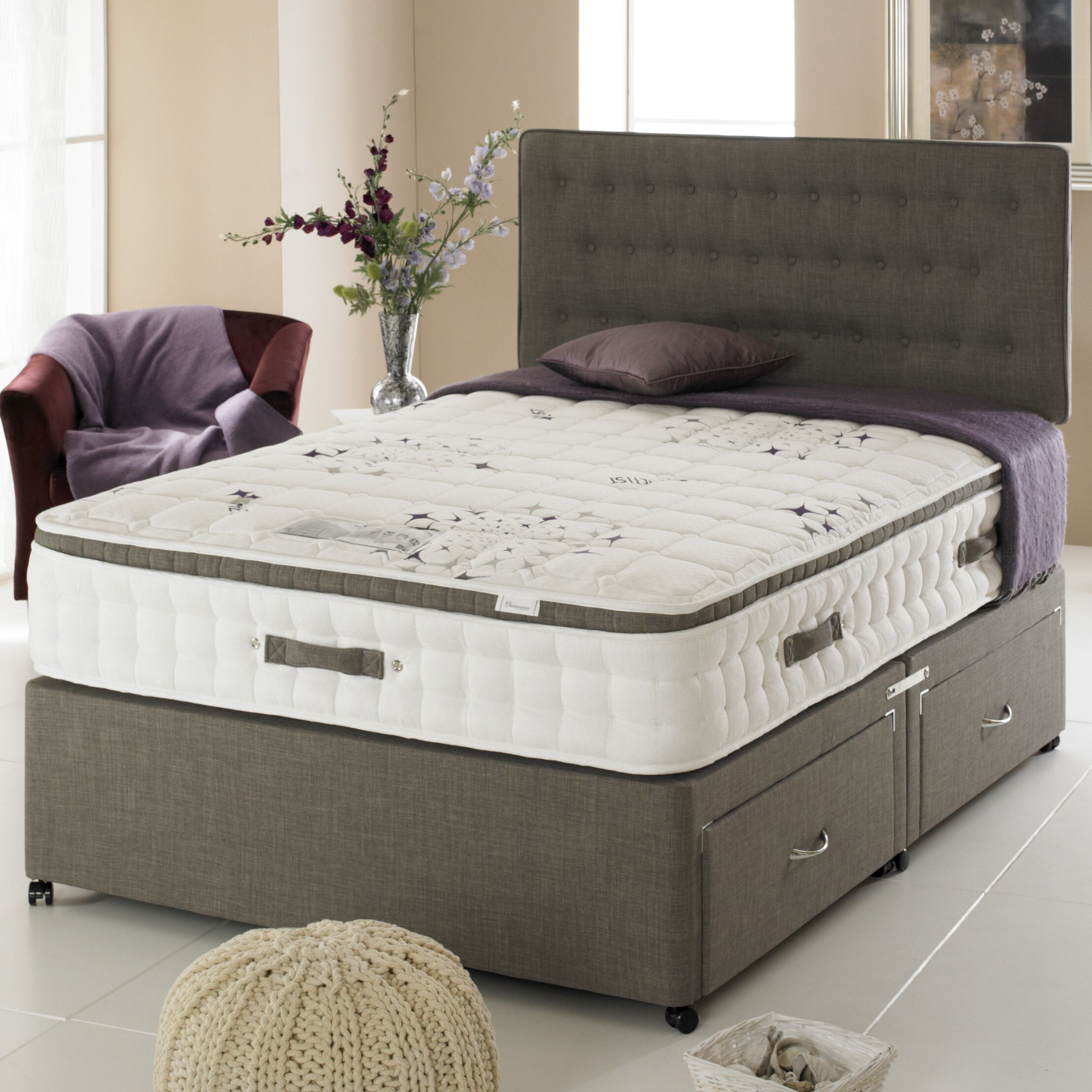 Home haus jade four drawer sprung 2500 divan bed for 4 drawer divan bed sale
