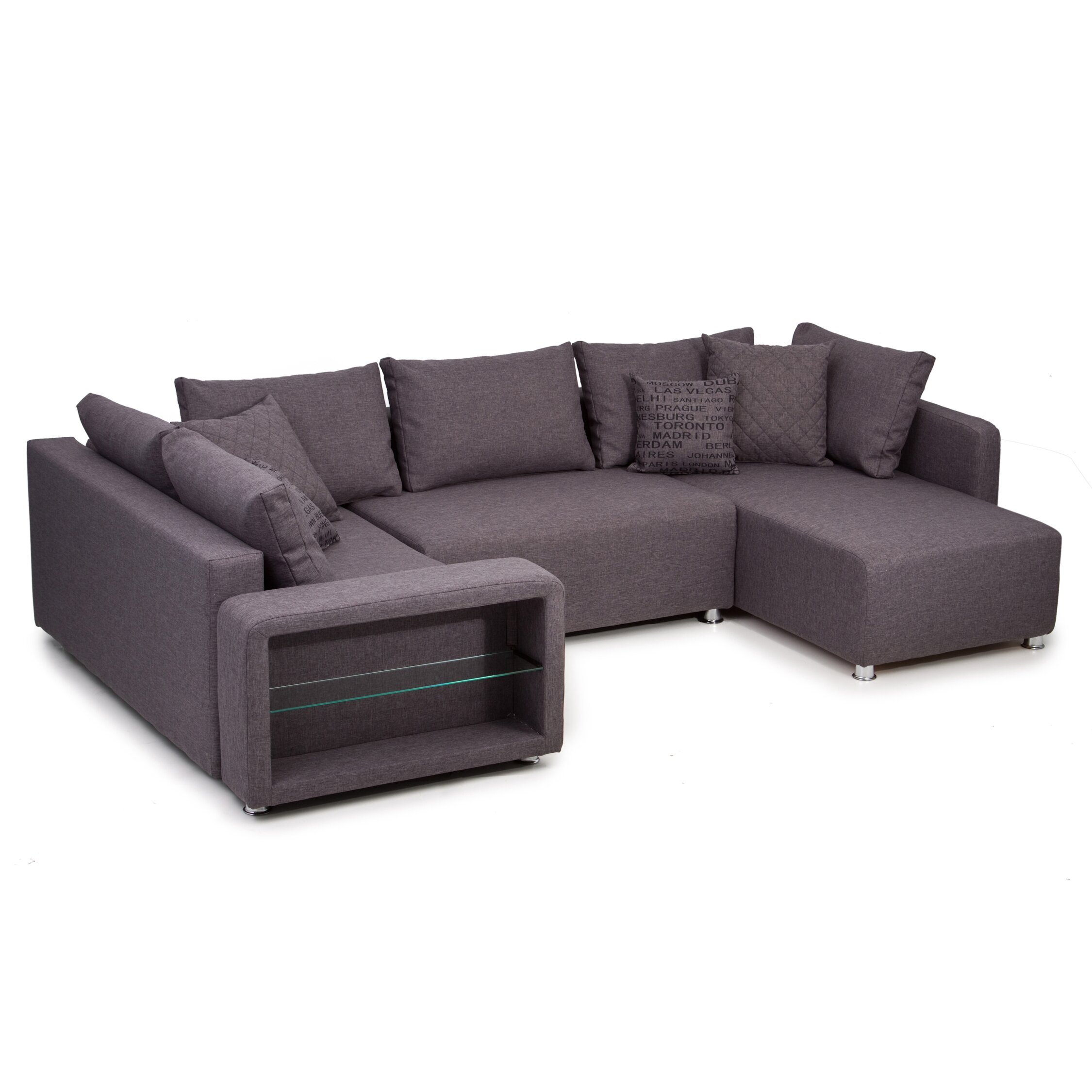 home haus sofa barmedman mit strukturstoffbezug und led beleuchtung. Black Bedroom Furniture Sets. Home Design Ideas