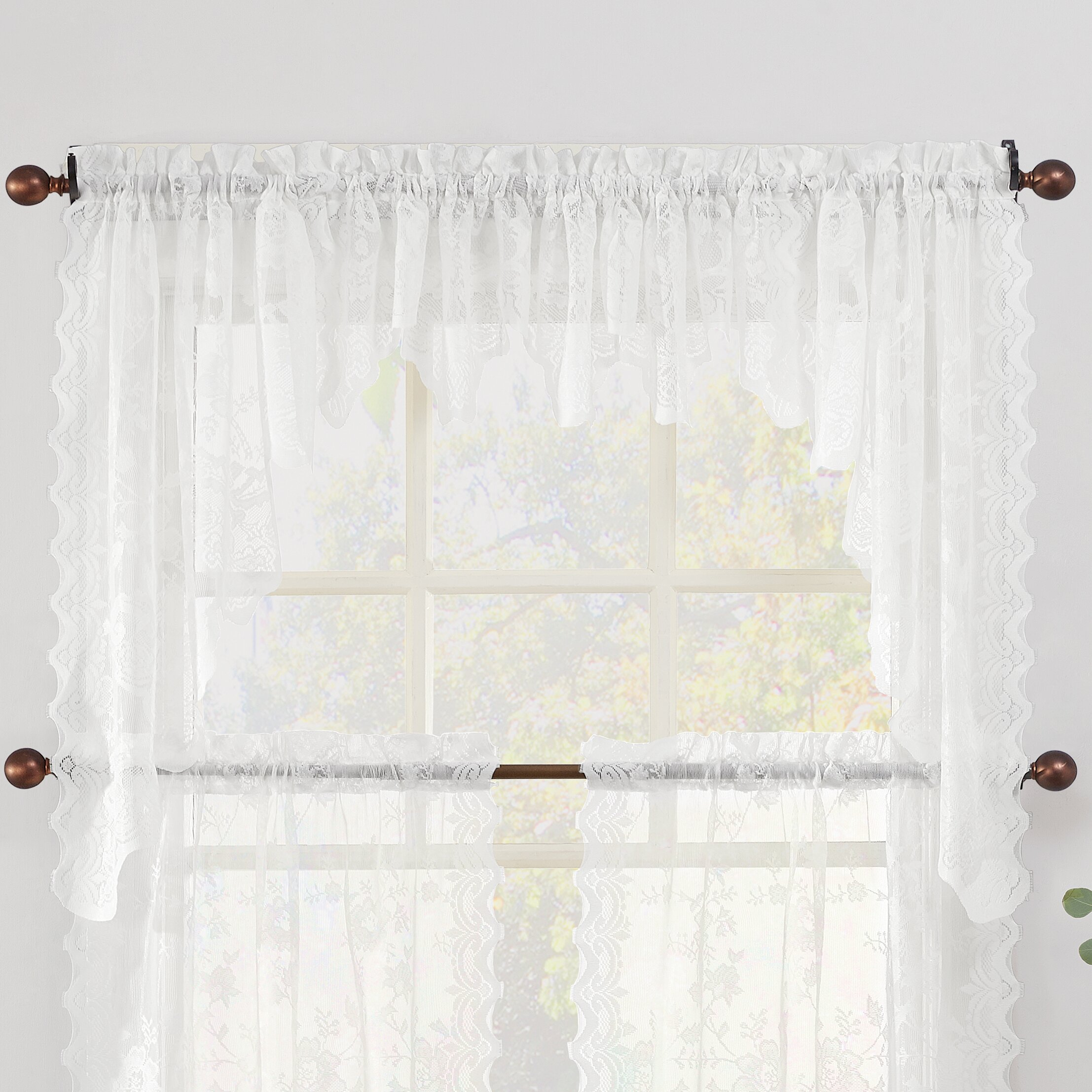 Kitchen Window Valance No 918 Alison Sheer Lace Swag Pair 58 Kitchen Window Valance