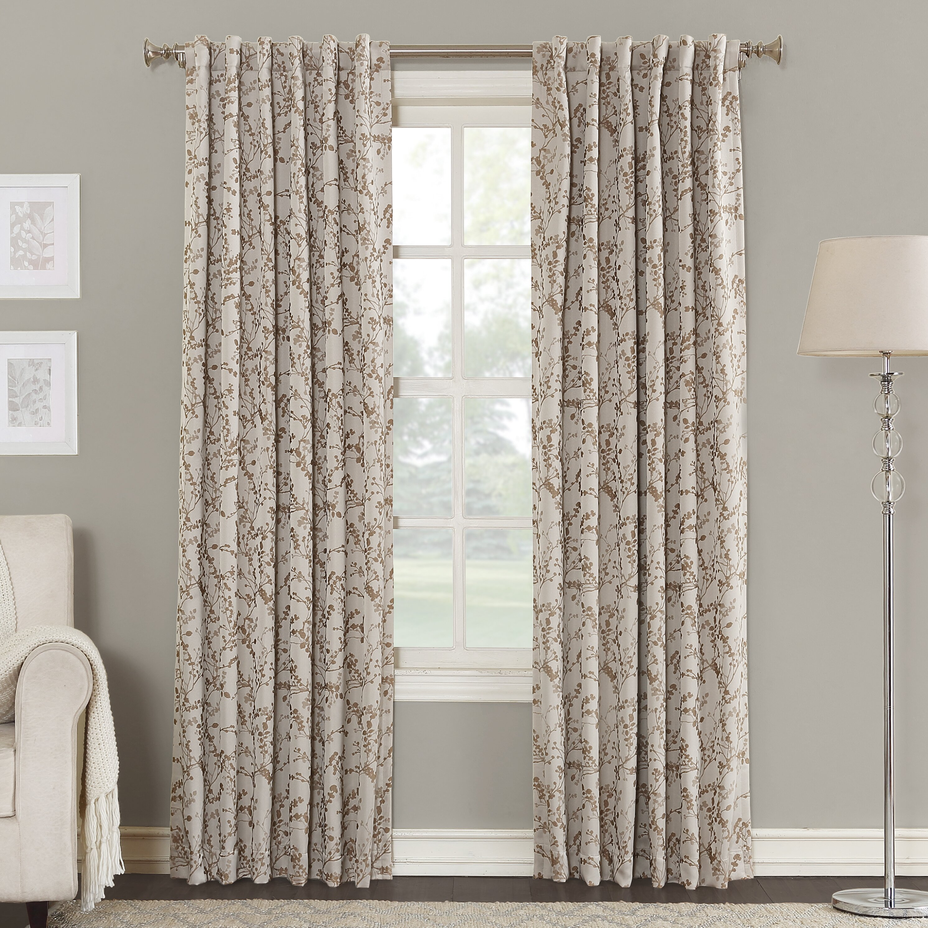 Sun Zero Karin Floral Thermal Single Curtain Panel