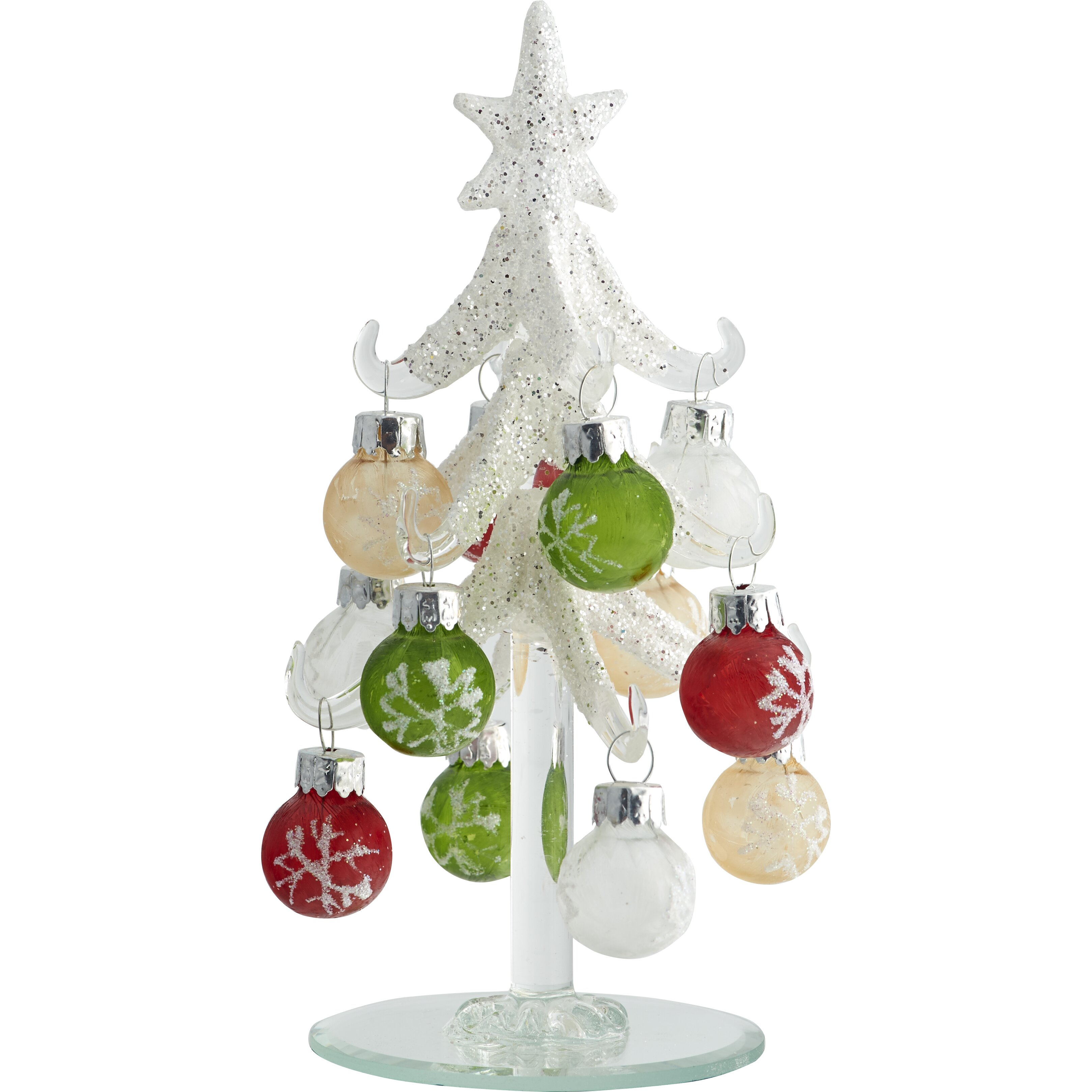 Frosted christmas ornaments - Ls Arts Inc 6 Quot Frosted Christmas Tree With 12 Ornaments