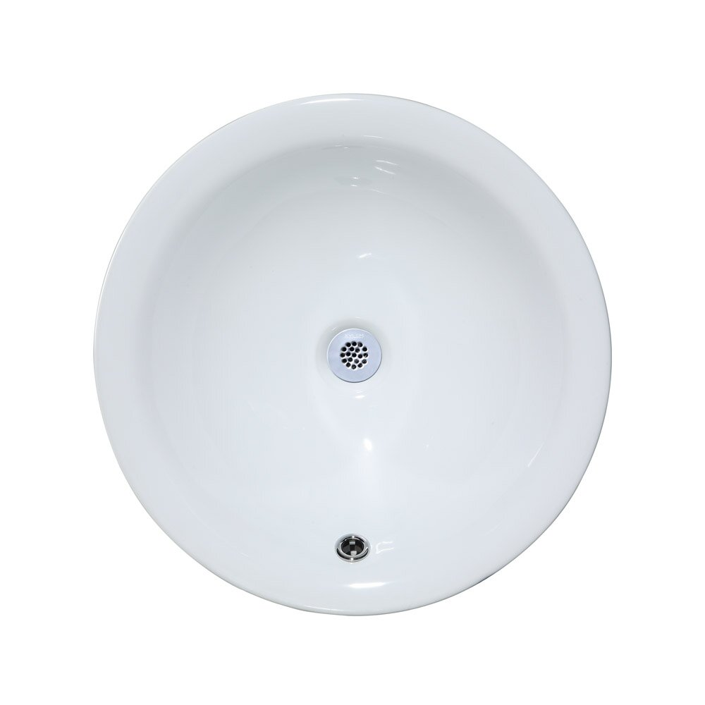 Ryvyr Semi-Recessed Round Vitreous China Vessel Bathroom Sink ...