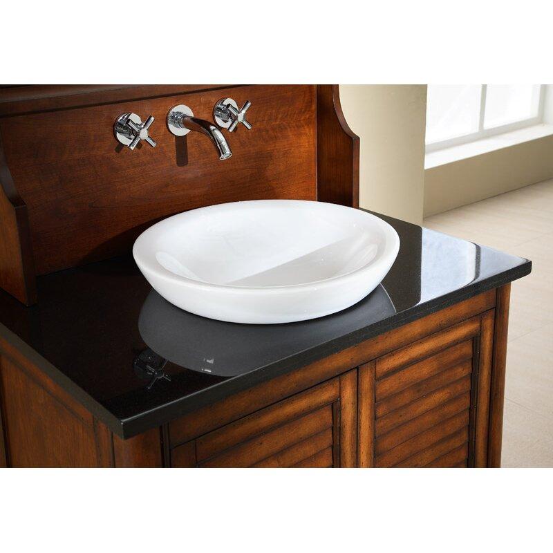 Ryvyr Semi-Recessed Round Vitreous China Vessel Bathroom Sink ...