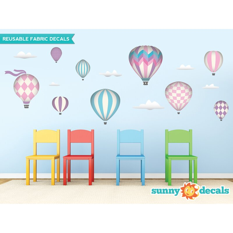Sunny Decals Hot Air Balloons Fabric Wall Decal