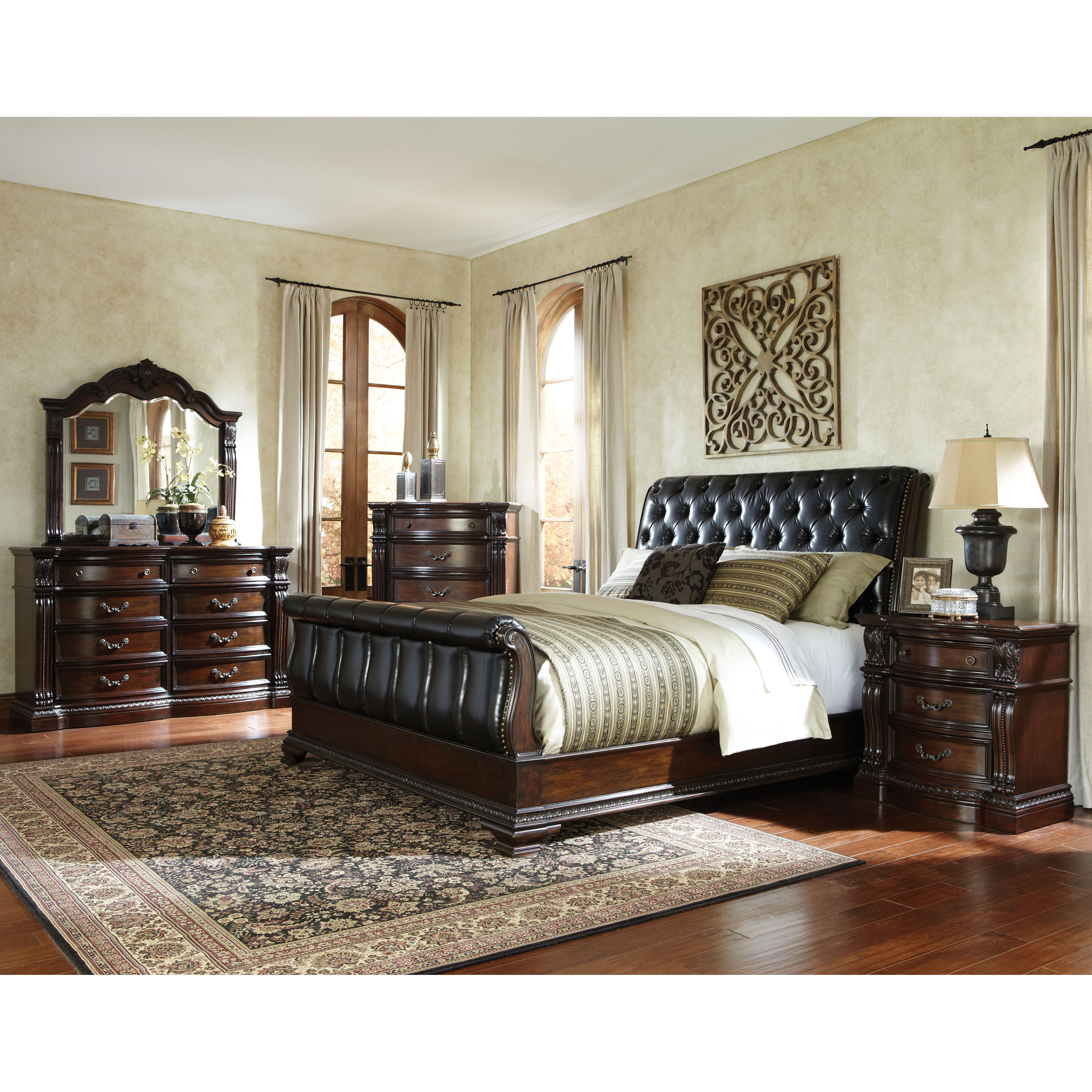Sleigh Bed Bedroom Set Standard Furniture Churchill Upholstered Sleigh Bed Reviews