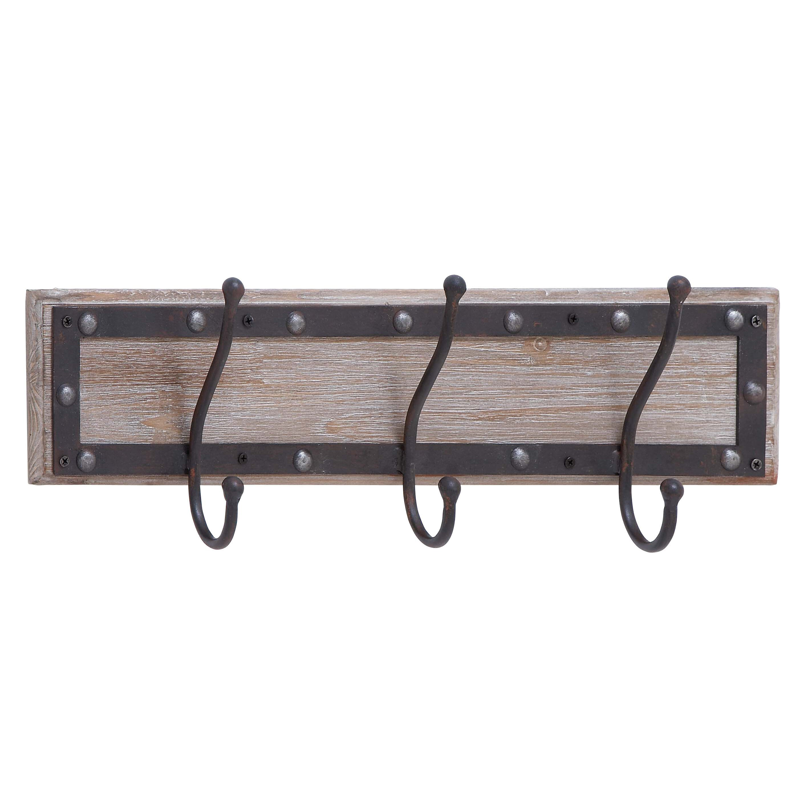Cole Amp Grey Wood And Metal Wall Mounted Coat Rack