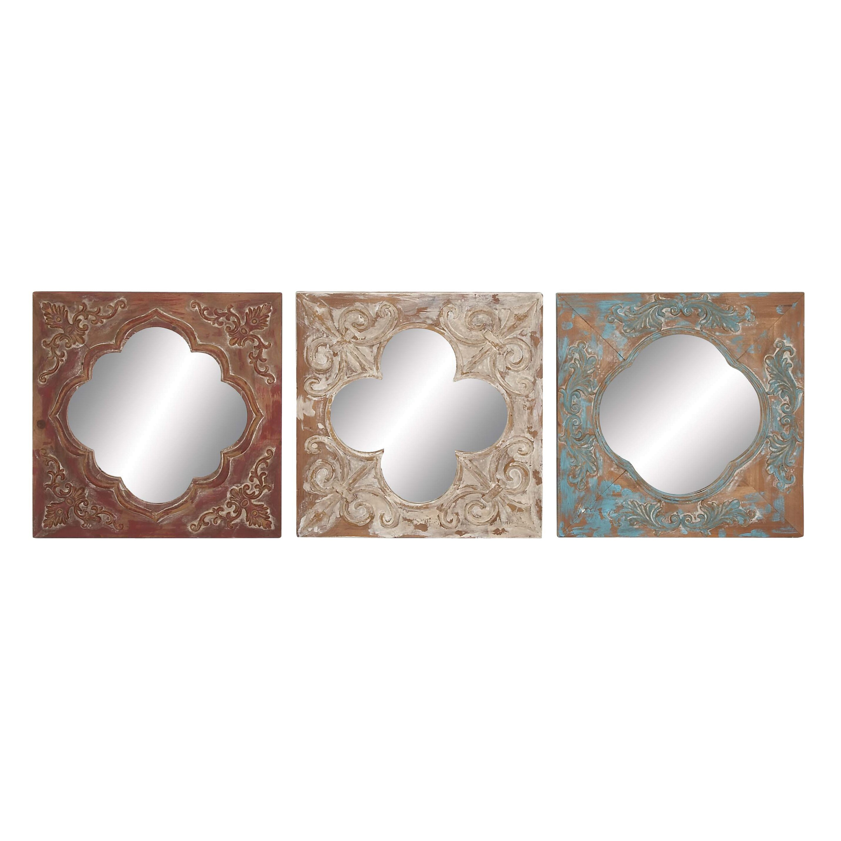 Cole - Grey 3 Piece Metal, Wood and Mirror Wall Decor Set