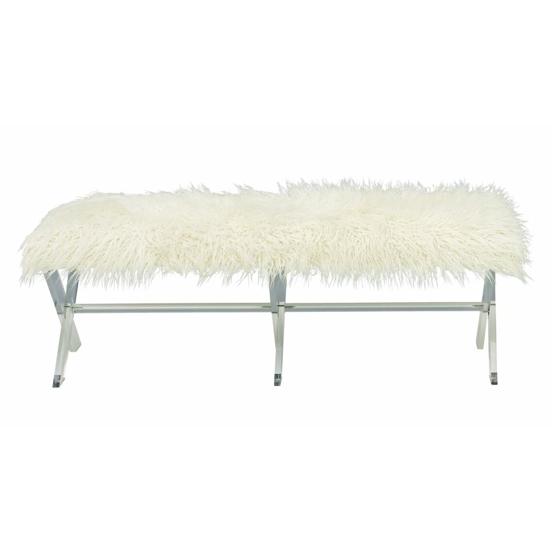 cole grey acrylic faux fur bedroom bench wayfair