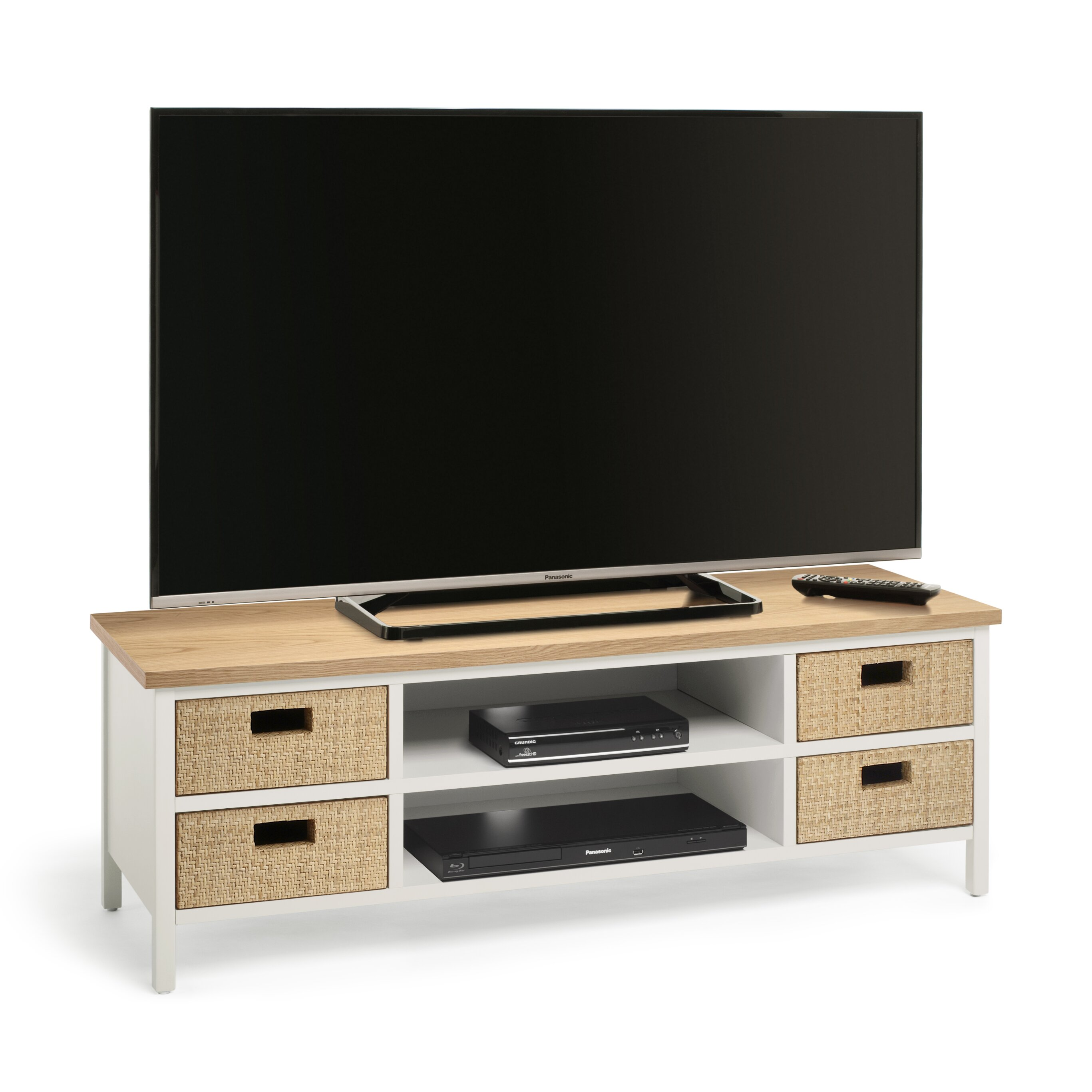 techlink tv regal wicker f r fernseher bis 55. Black Bedroom Furniture Sets. Home Design Ideas