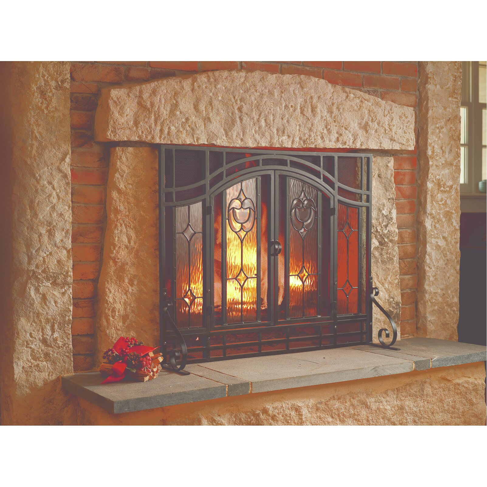Plow & Hearth Glass Fireplace Screen & Reviews