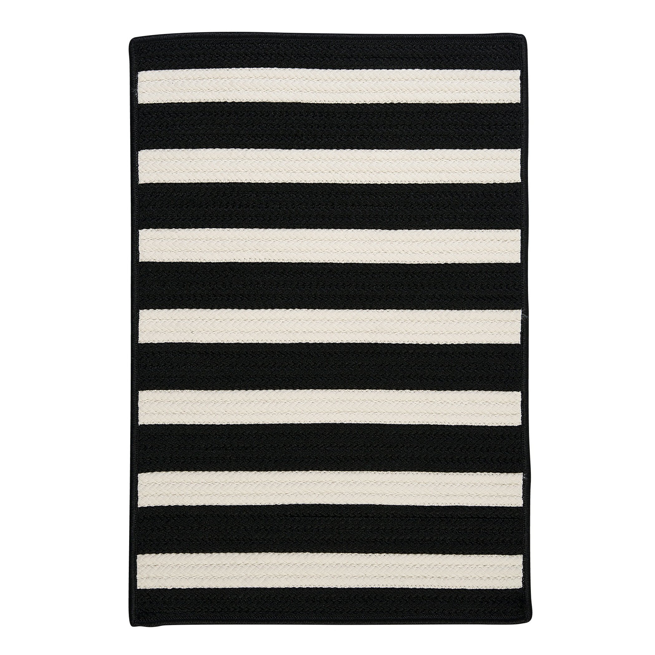 Superior Colonial Mills Stripe It Black/White Indoor/Outdoor Area Rug
