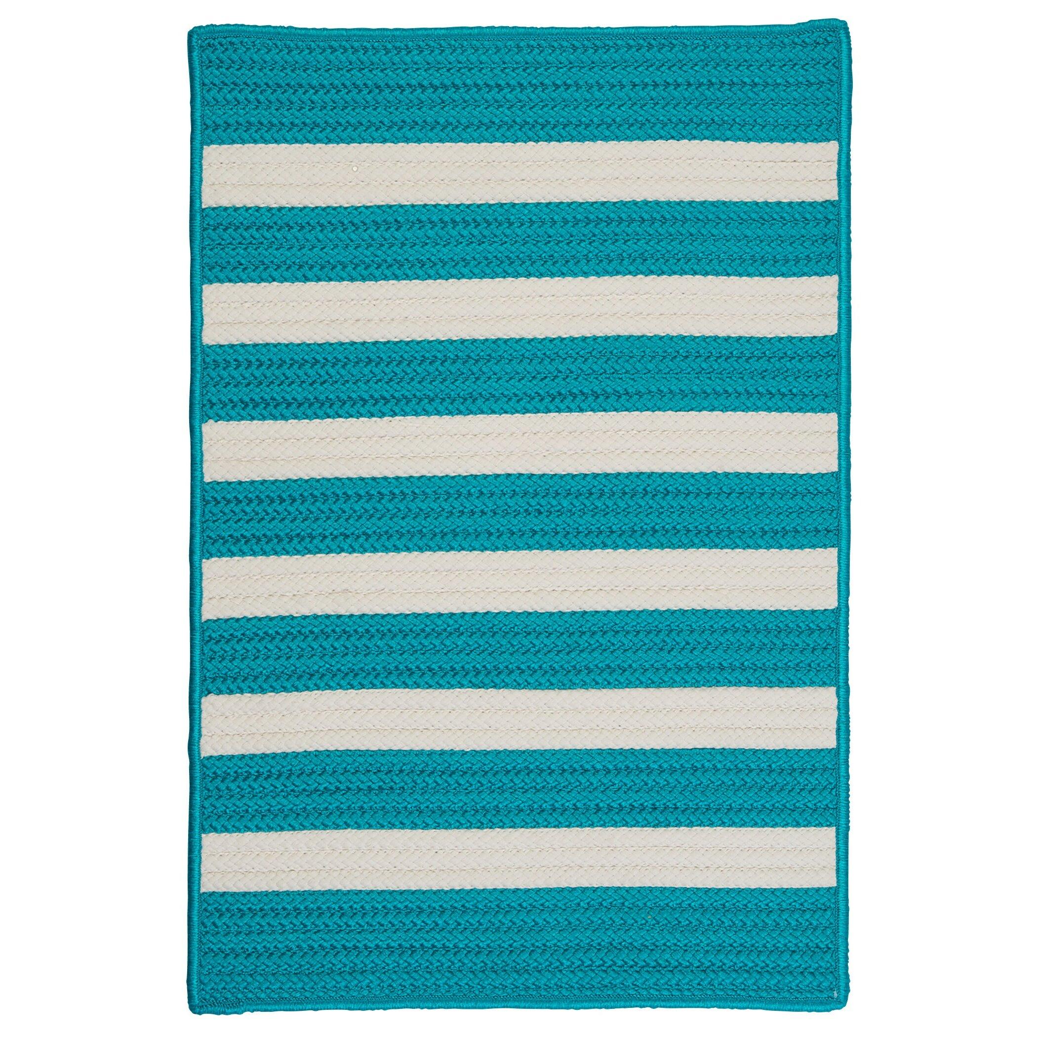 Colonial Mills Stripe It Turquoise Indoor Outdoor Area Rug