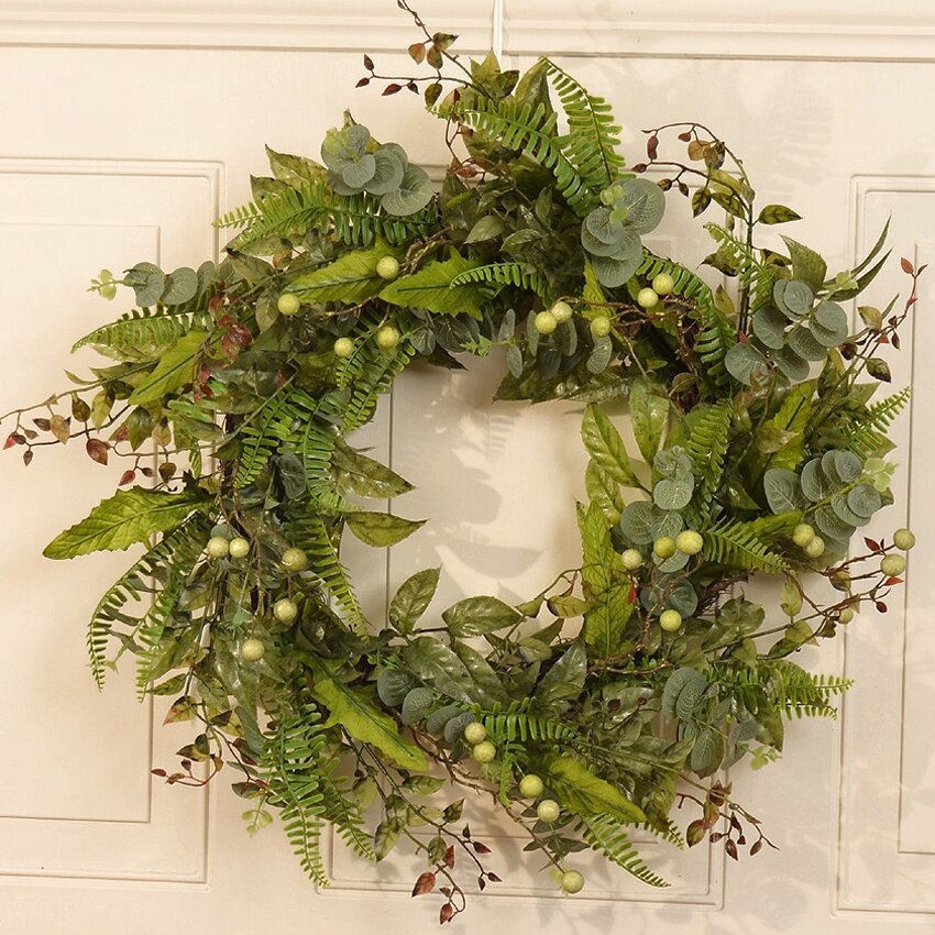 Floral home decor 24 fern and berry wreath reviews for Home decor 24