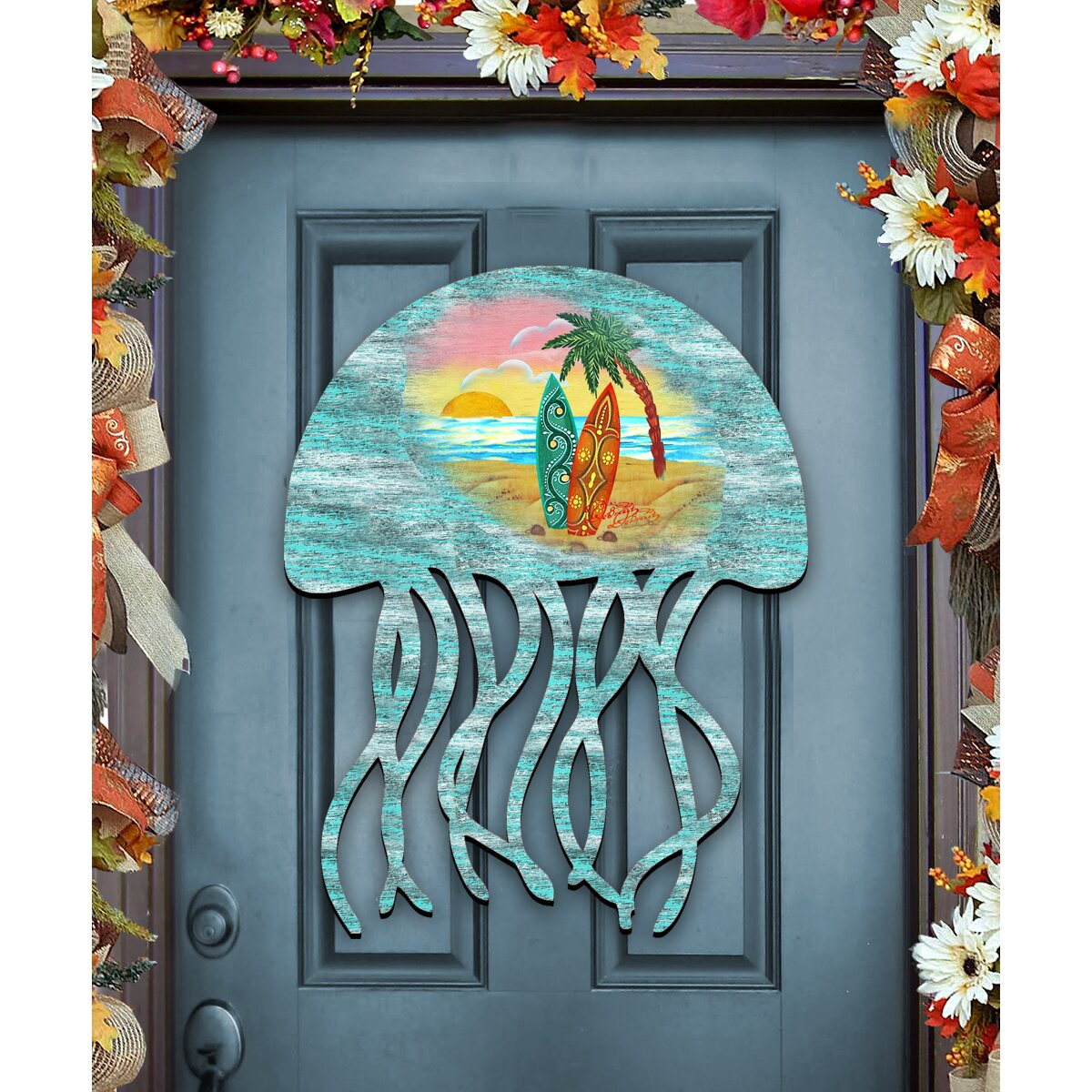 Decorative Door Hangers G Debrekht Jellyfish Coastal Beach Wooden Decorative Door Hanger