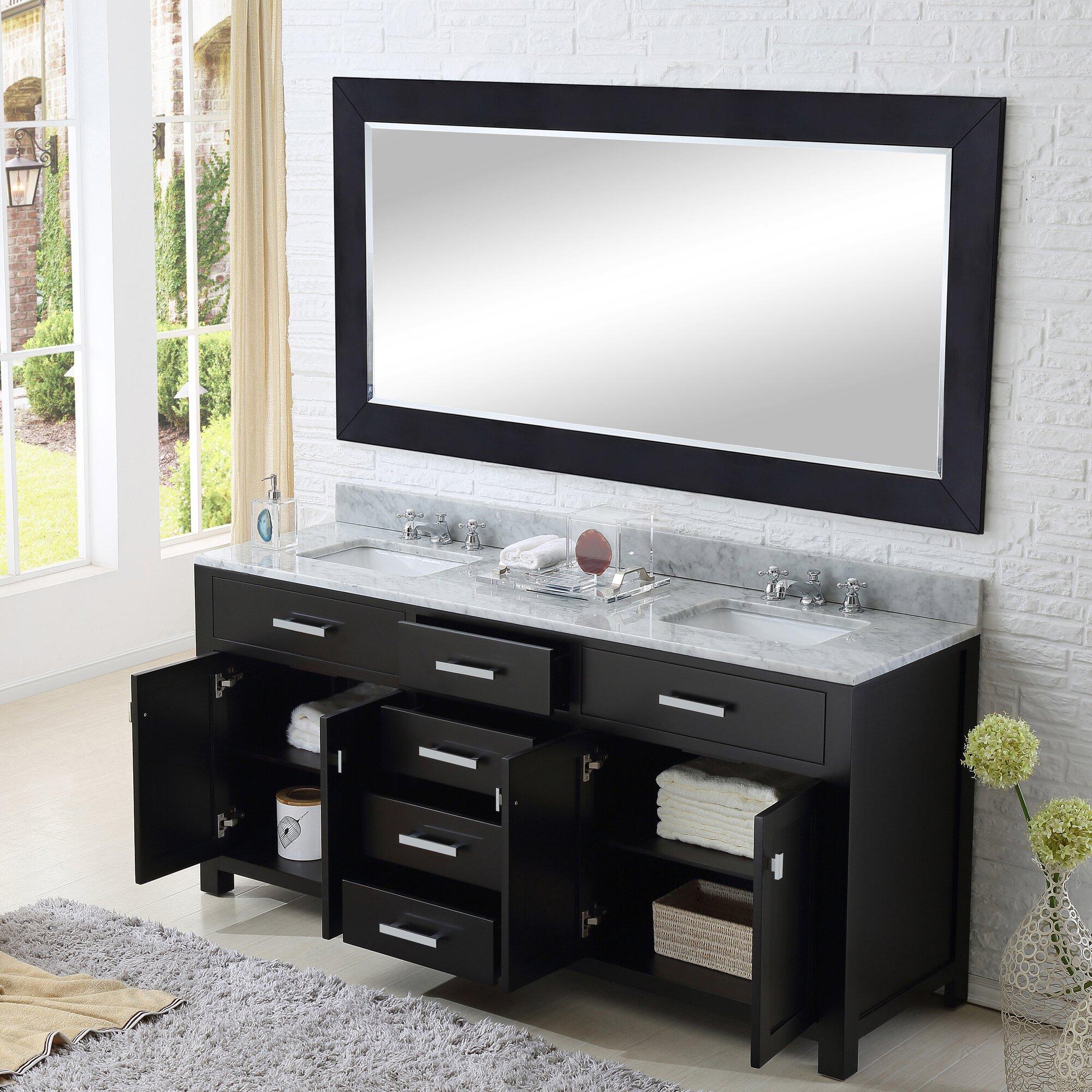 dCOR design Creighton 60 Double Bathroom Vanity Set with Large – Bathroom Vanity and Mirror Set