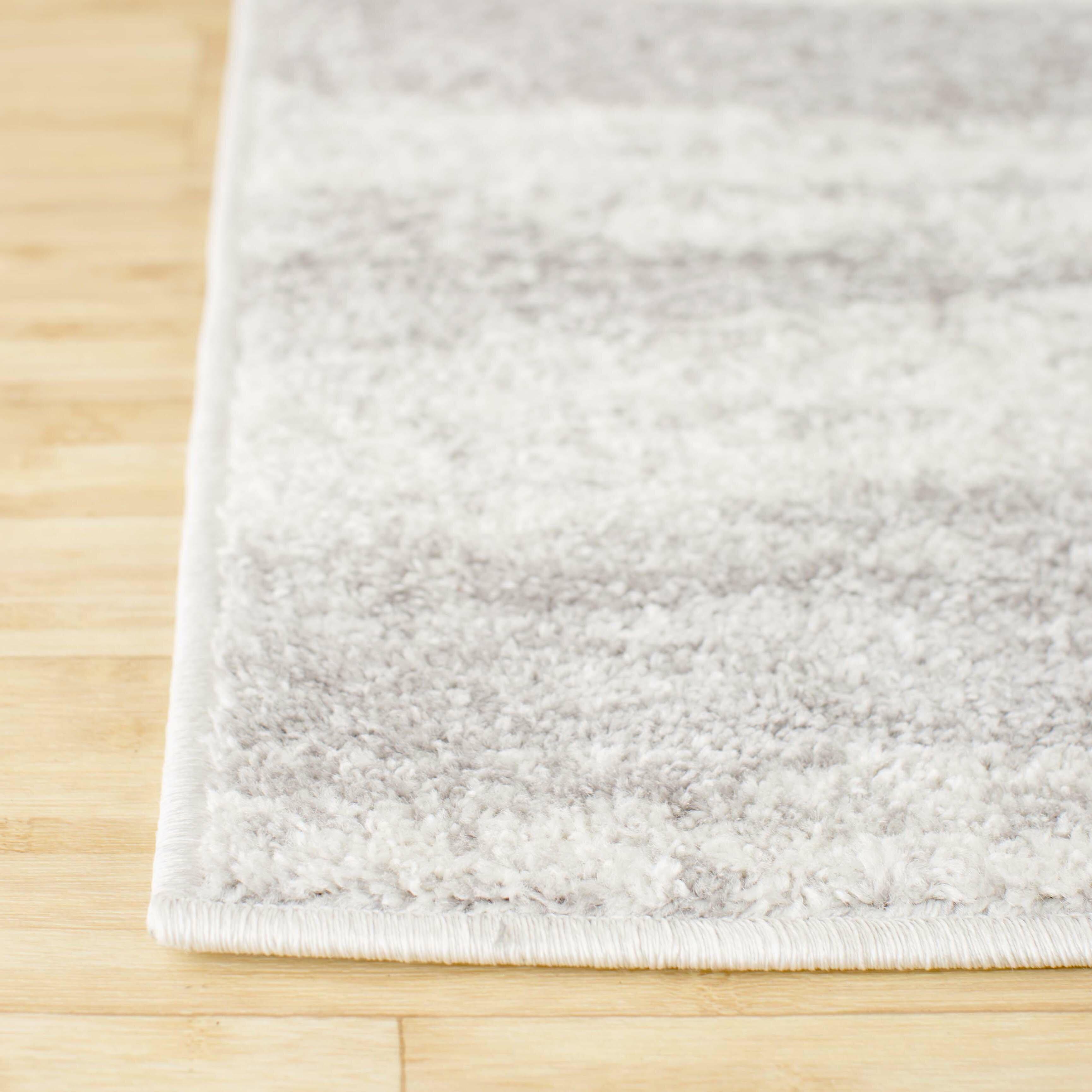 Mercury Row Lada Abstract Waves Grey White Area Rug