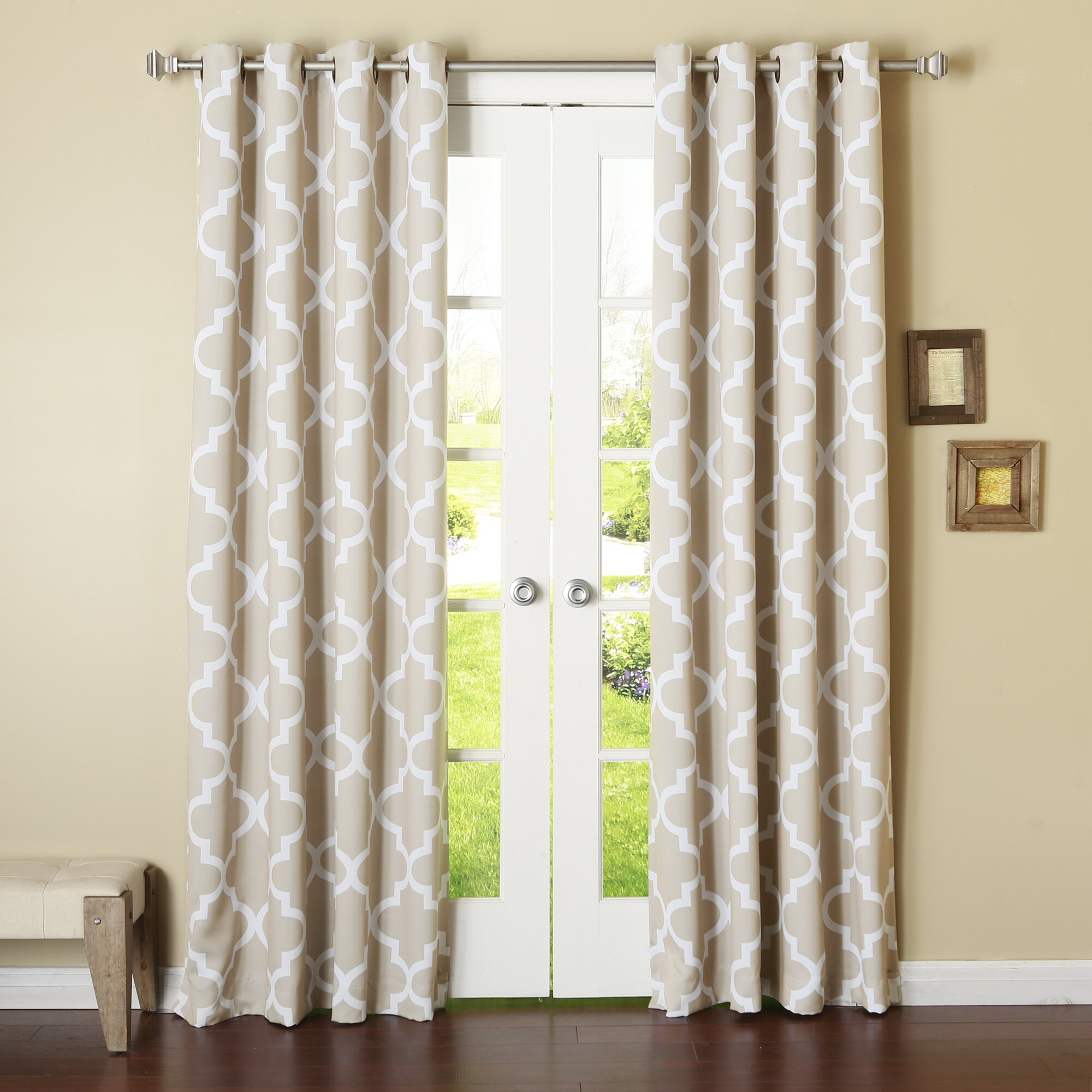 best home fashion inc moroccan print room darkening single curtain