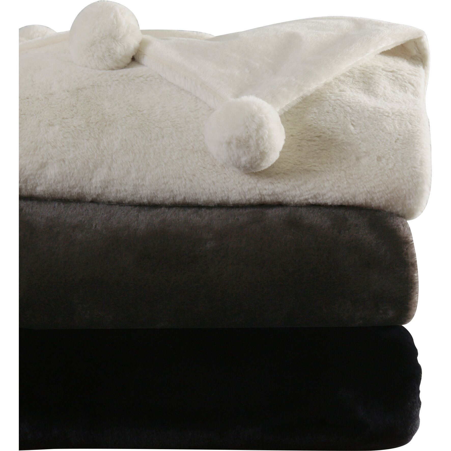 Faux Fur Throw And Pillow Set : Best Home Fashion, Inc. Luxe Faux Fur Pom Pom Throw Blanket and Pillow Set & Reviews Wayfair