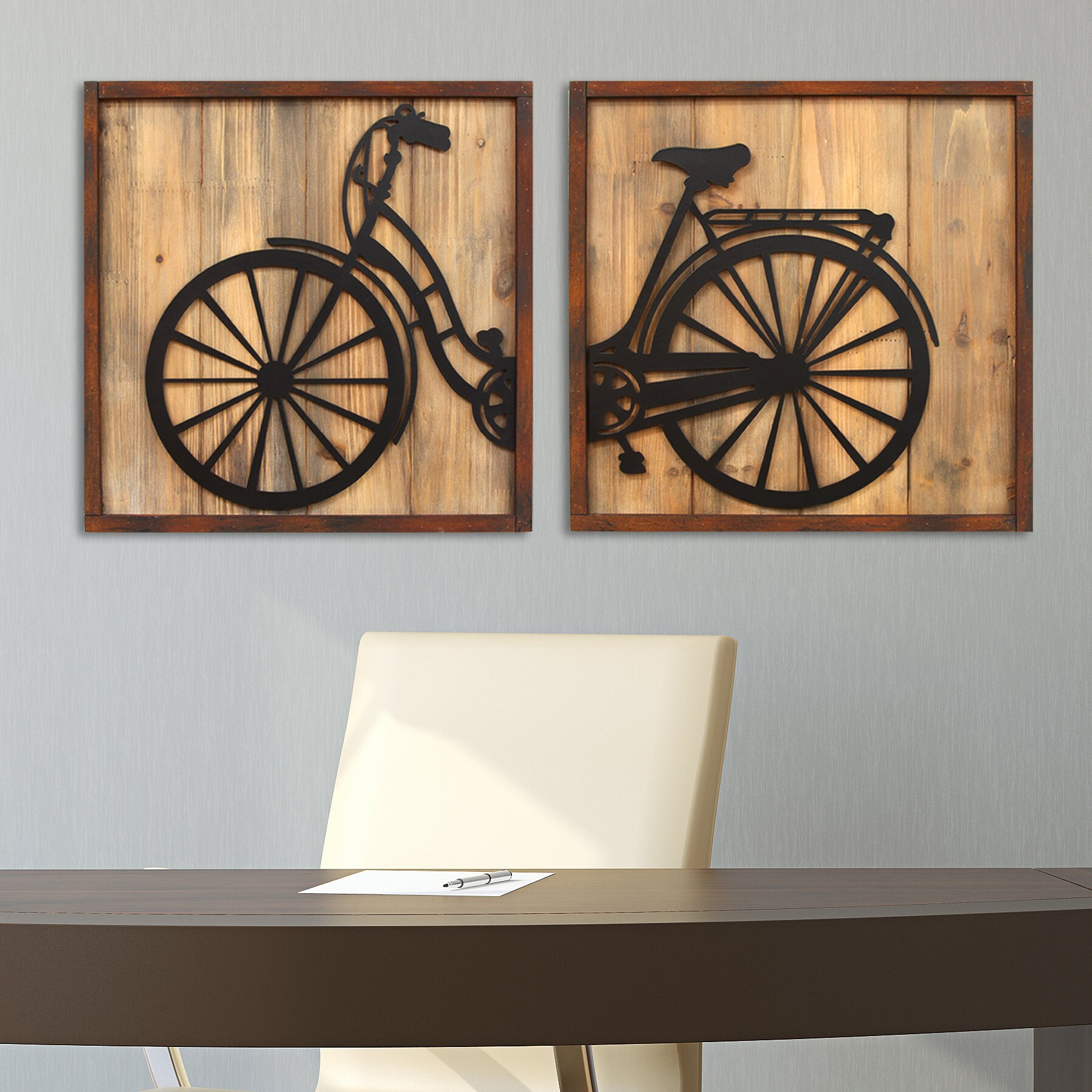 Wall Decor For Home Stratton Home Decor 2 Piece Retro Bicycle Panels Wall Dccor Set