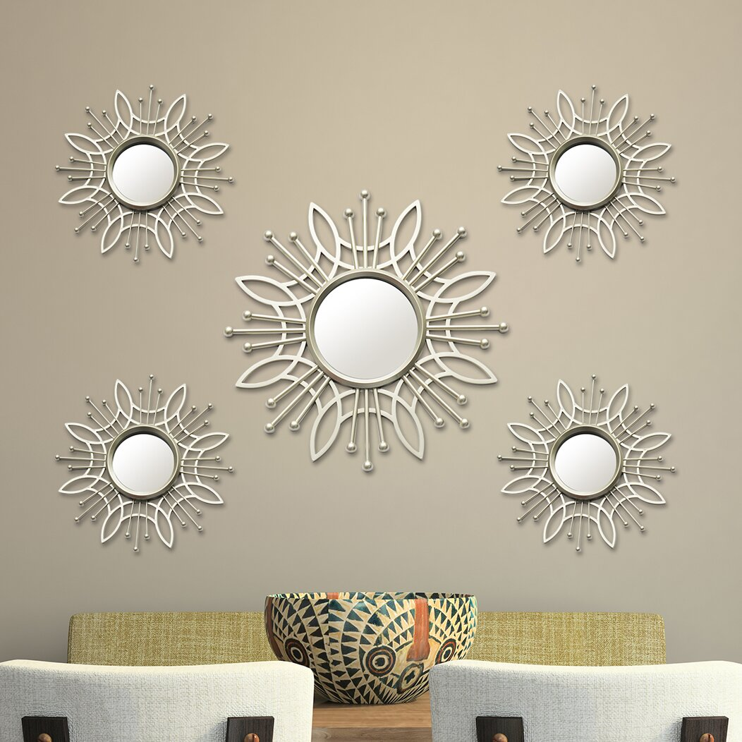 Stratton home decor 5 piece burst wall mirror set for Wayfair home decor canada