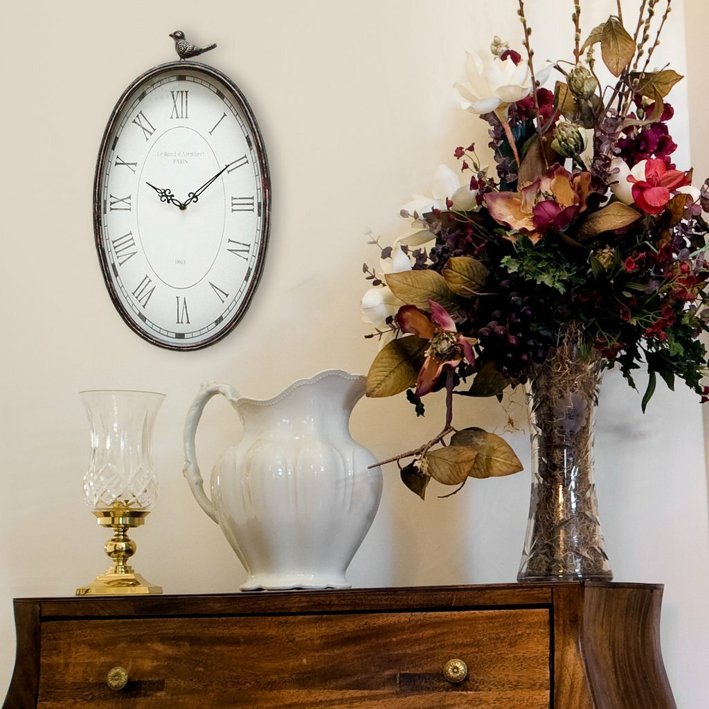 Stratton home decor oval wall clock reviews wayfair - Oval wall decor ...