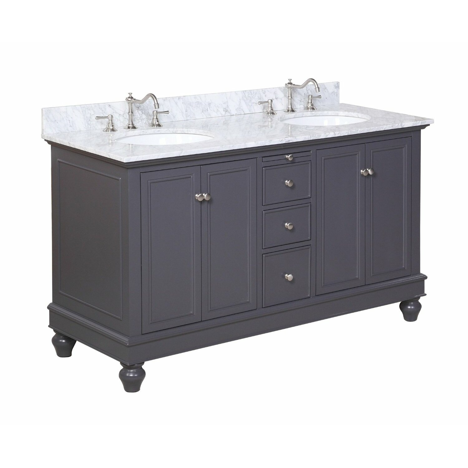 60 Bathroom Cabinet Kbc Bella 60 Double Bathroom Vanity Set Reviews Wayfair