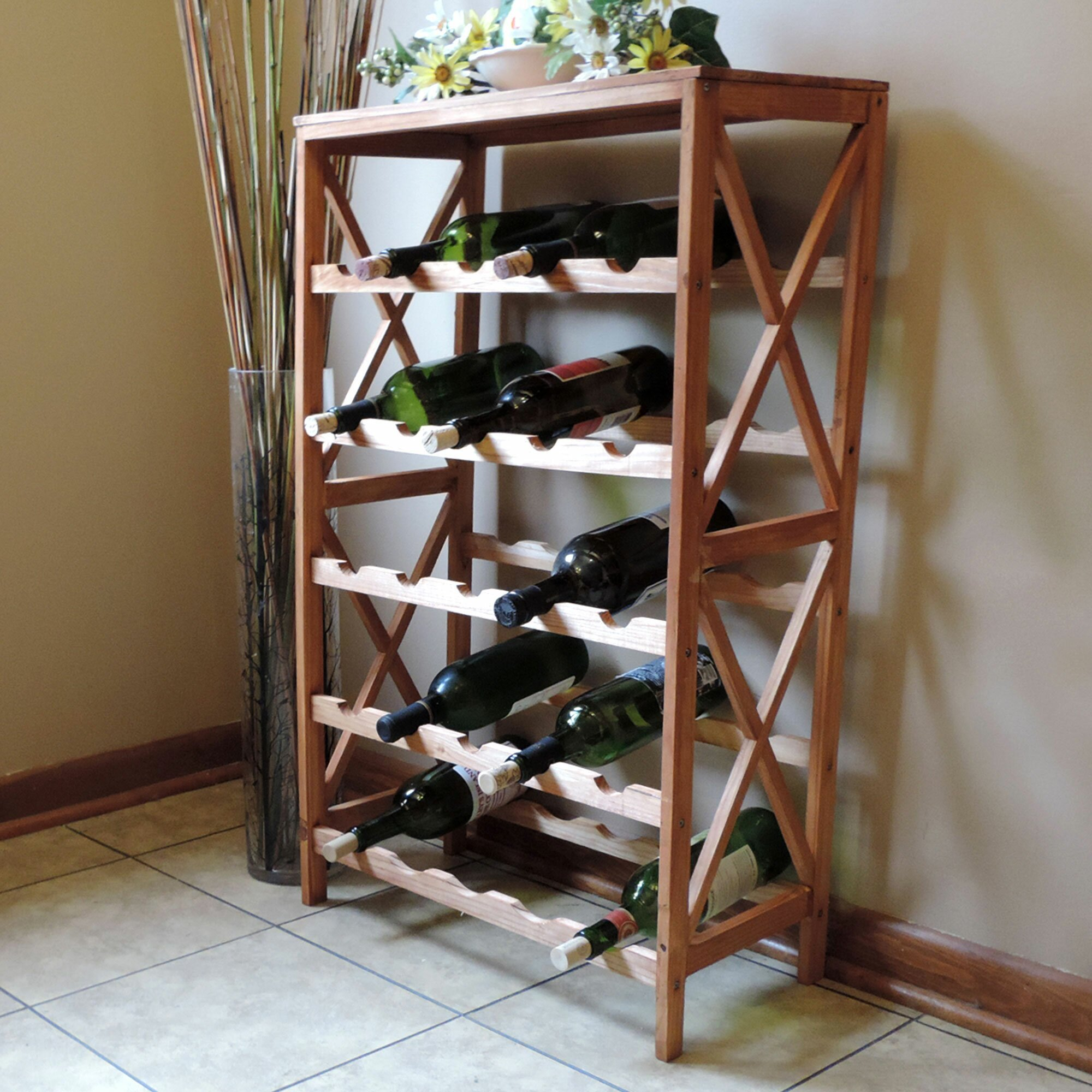 Wine Cellar Kitchen Floor Red Barrel Studio Barhop 25 Bottle Floor Wine Rack Reviews Wayfair