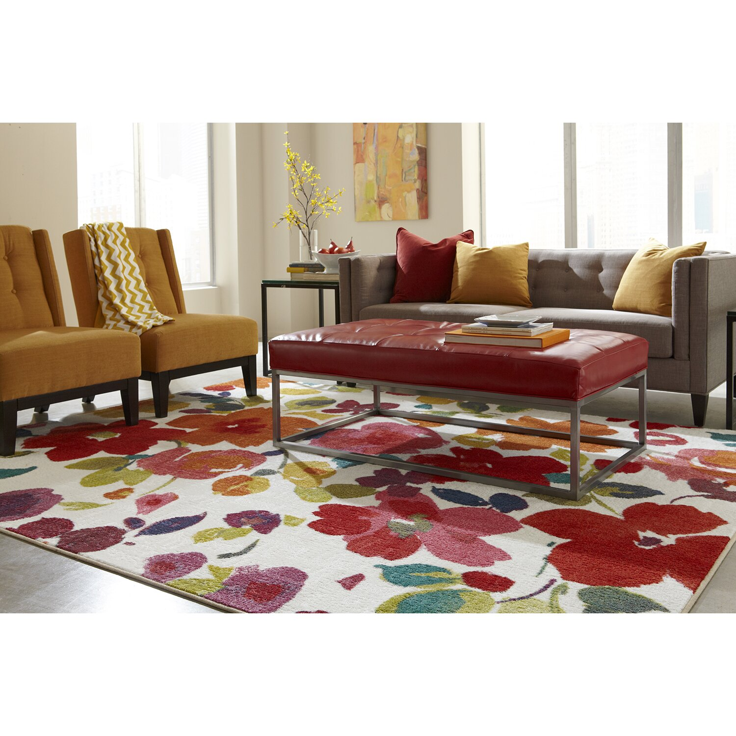 Red Living Room Rug Red Barrel Studio Channel Floral Multi Printed Area Rug Reviews