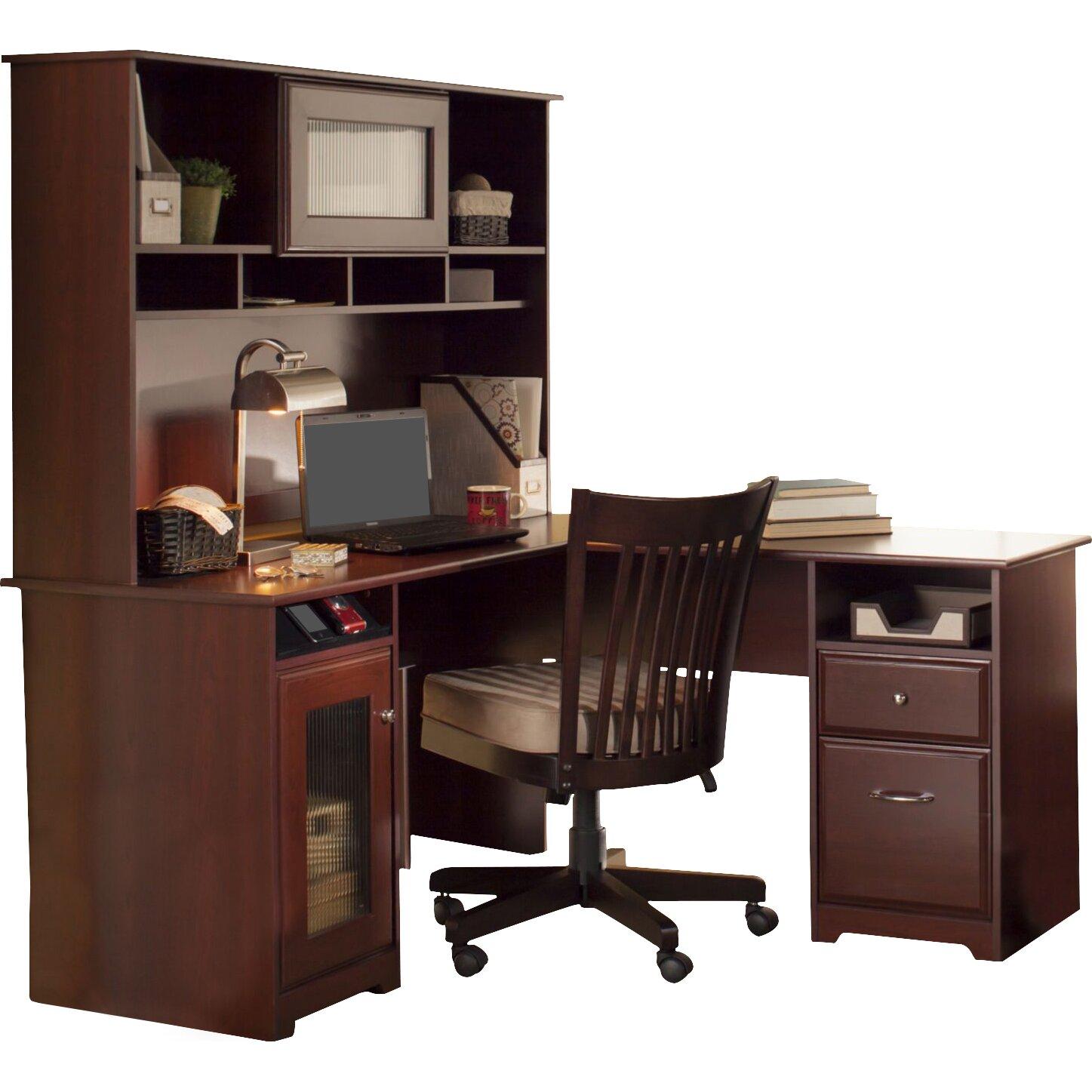 red barrel studio l shaped desk with hutch reviews. Black Bedroom Furniture Sets. Home Design Ideas
