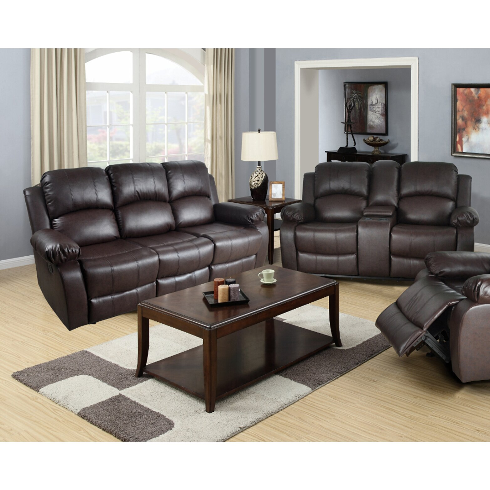 Red Leather Living Room Sets Red Barrel Studio Mayday 2 Piece Leather Reclining Living Room Set