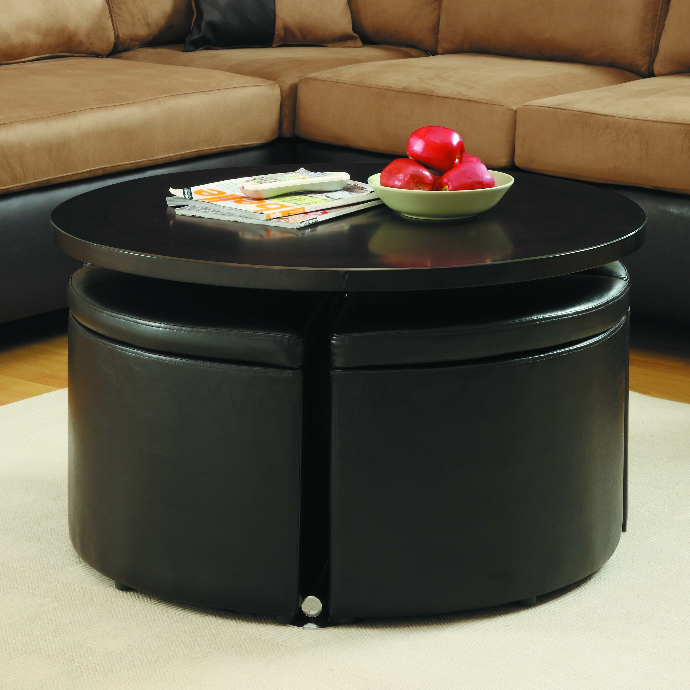 Red Barrel Studio Reg Dempsey Gas Lift Coffee Table With Ottomans