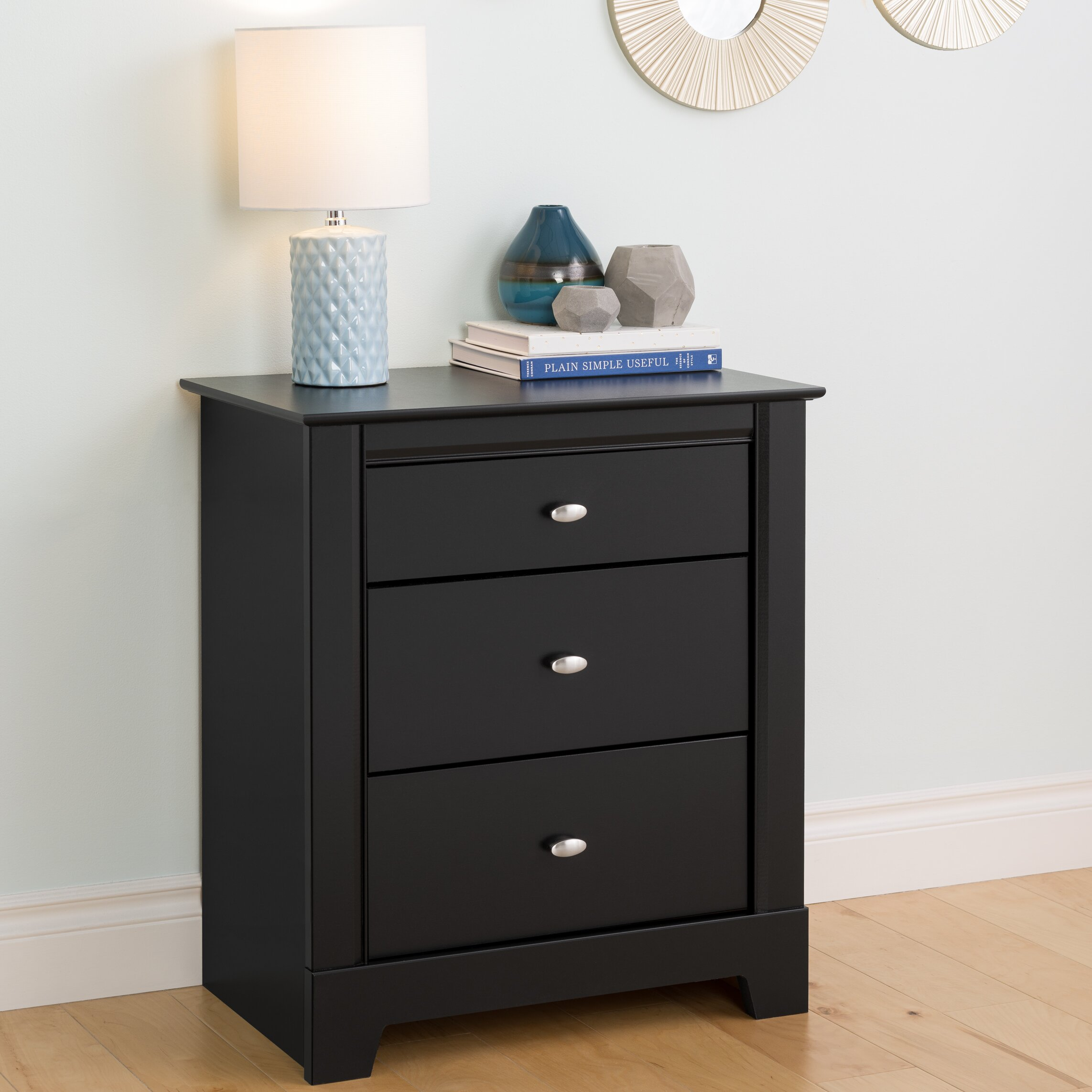 red barrel studio belgium black 3 drawer nightstand reviews. Black Bedroom Furniture Sets. Home Design Ideas