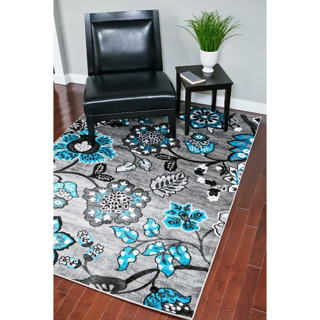 Trina Indoor Outdoor Rug Brown Turquoise: Red Barrel Studio Chapman Turquoise/Grey Indoor/Outdoor