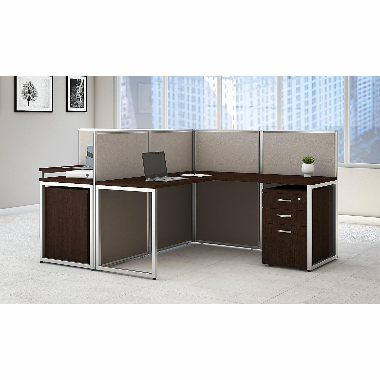 Bush Business Furniture Easy Office LShape Desk Open Office With - Open office furniture