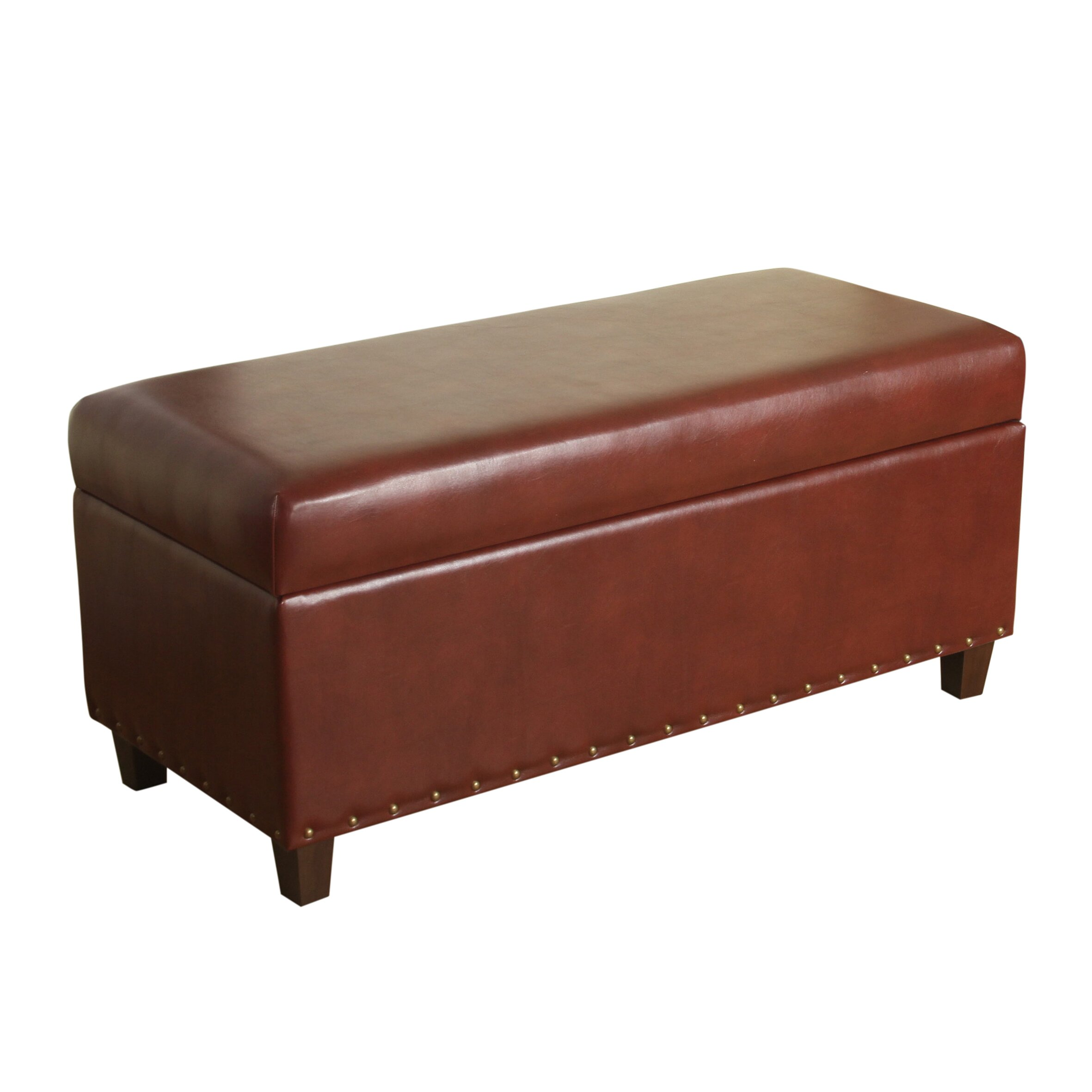 Leather Bedroom Bench Homepop Branford Faux Leather Storage Bedroom Bench Reviews